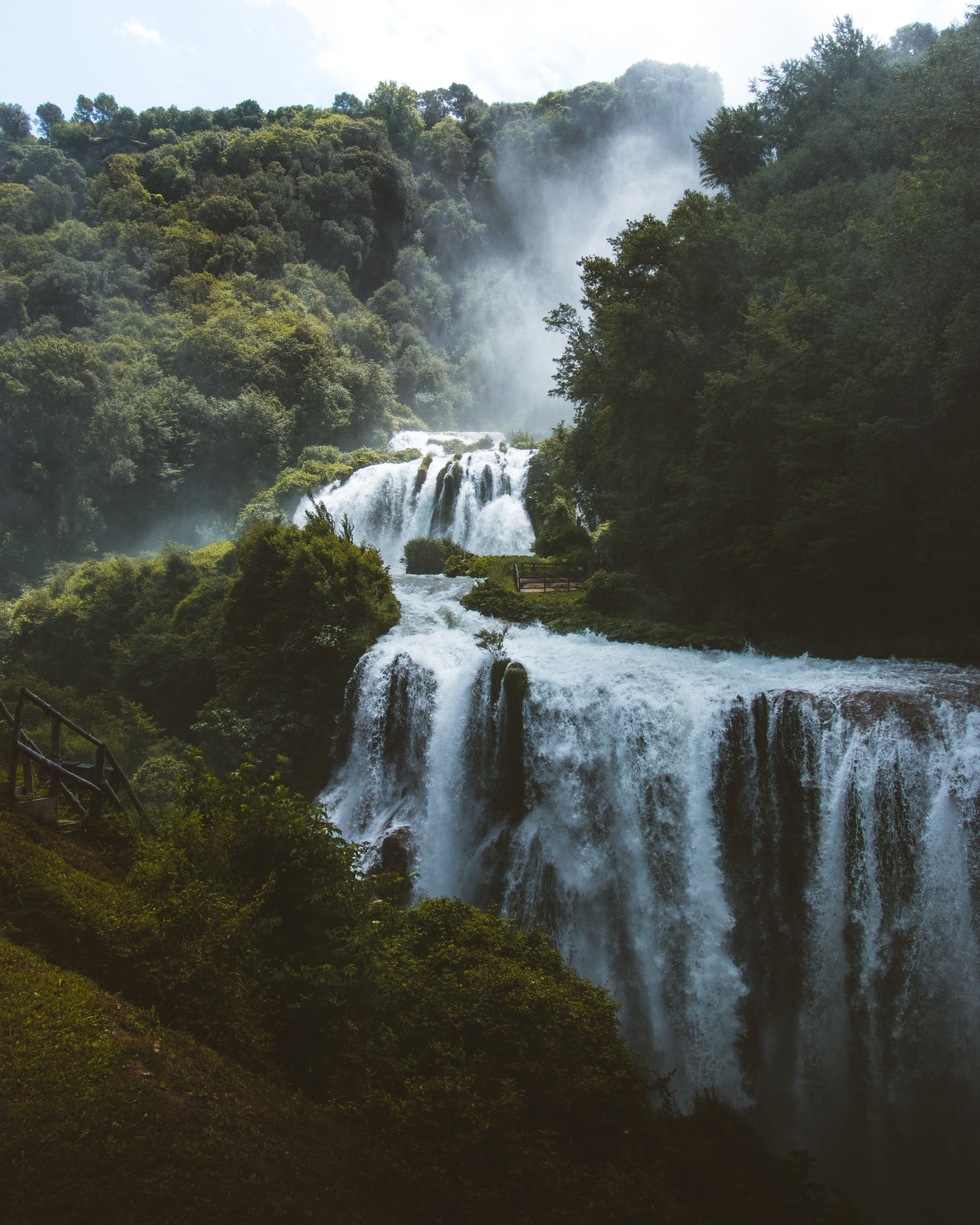 88156 download wallpaper Nature, Waterfall, Forest, Trees, Wildlife, Landscape screensavers and pictures for free