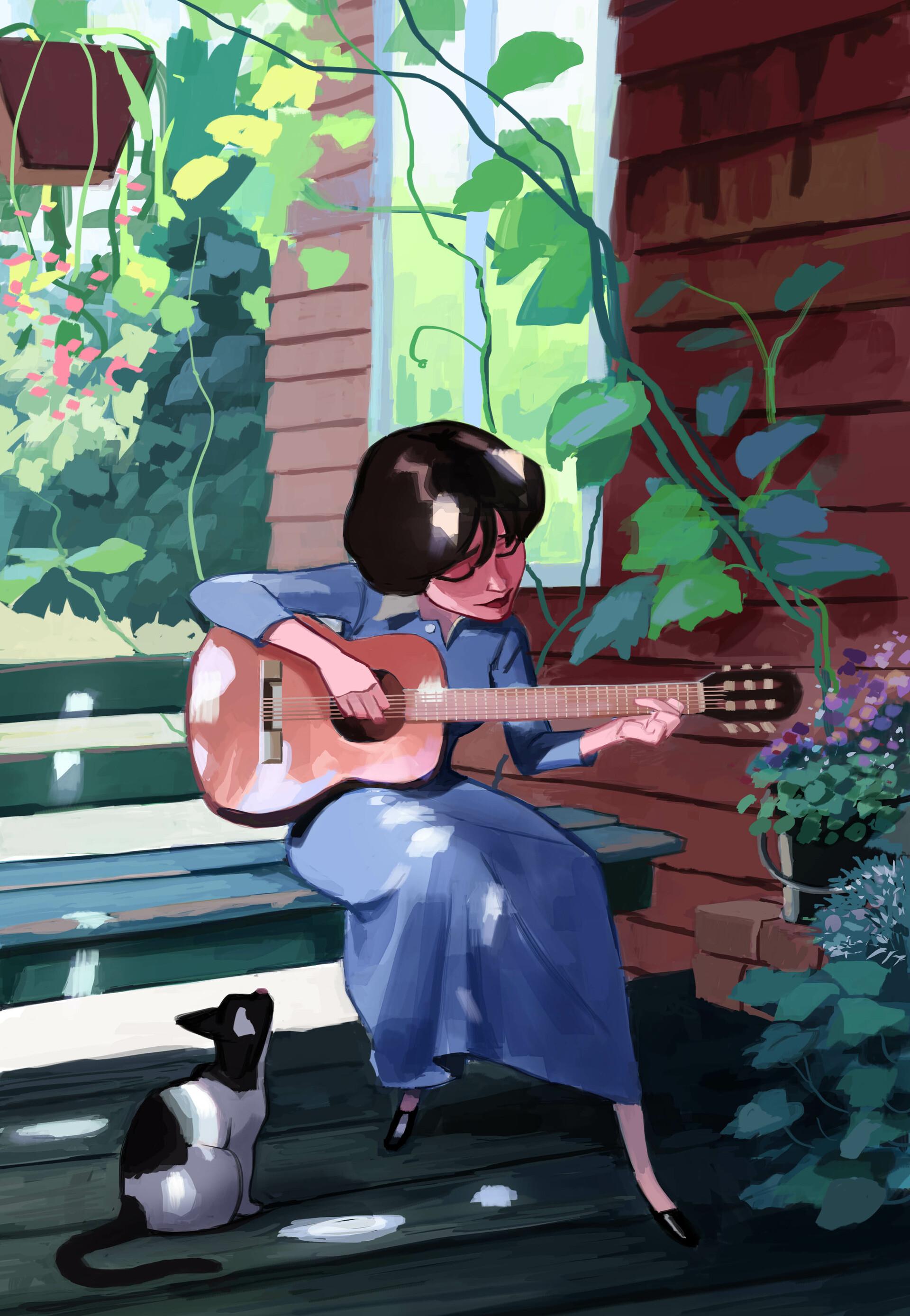 100116 скачать обои Девушка, Гитара, Кошка, Арт, Музыка - заставки и картинки бесплатно