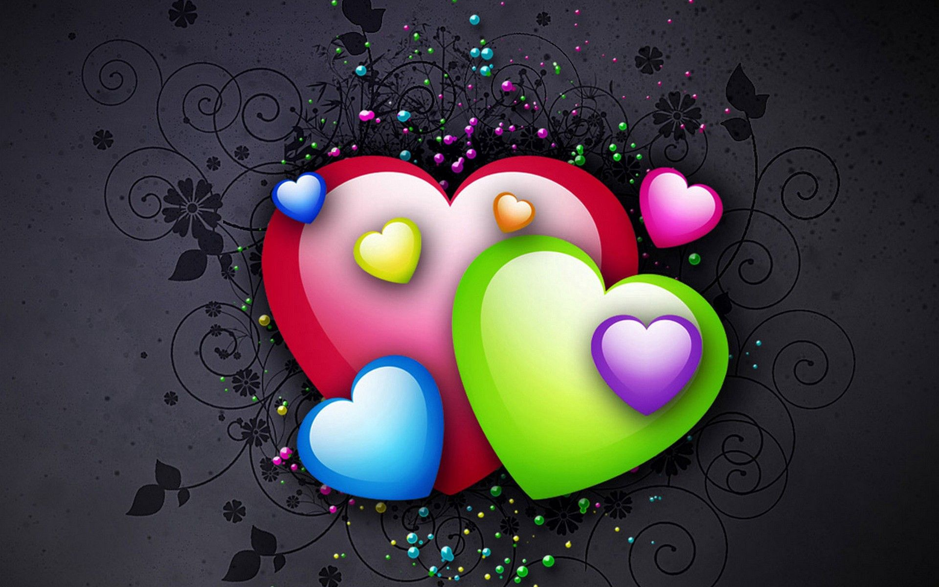 64862 download wallpaper Love, Background, Hearts, Bright, Multicolored, Motley screensavers and pictures for free
