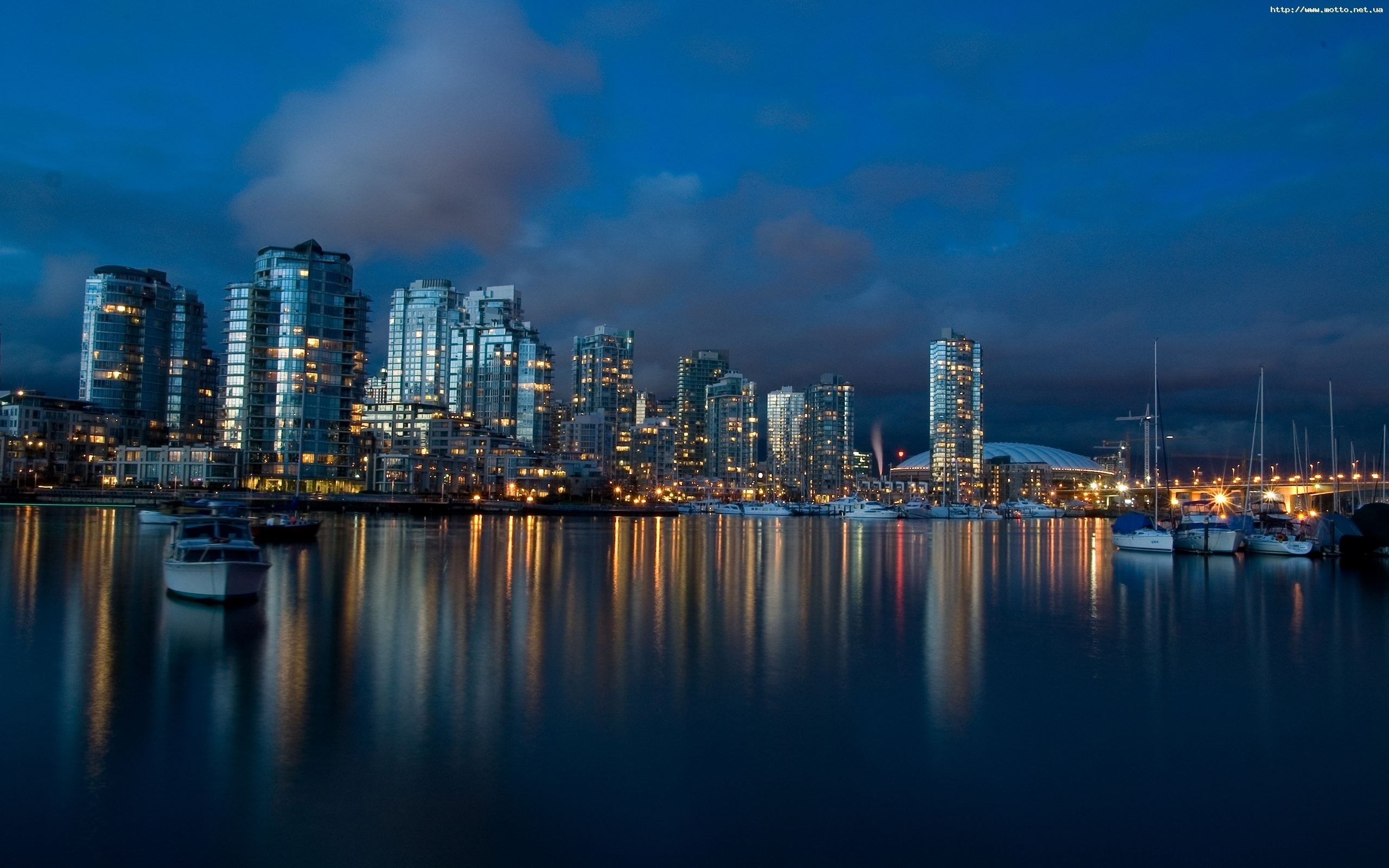 546 download wallpaper Landscape, Cities, Water, Houses, Night screensavers and pictures for free