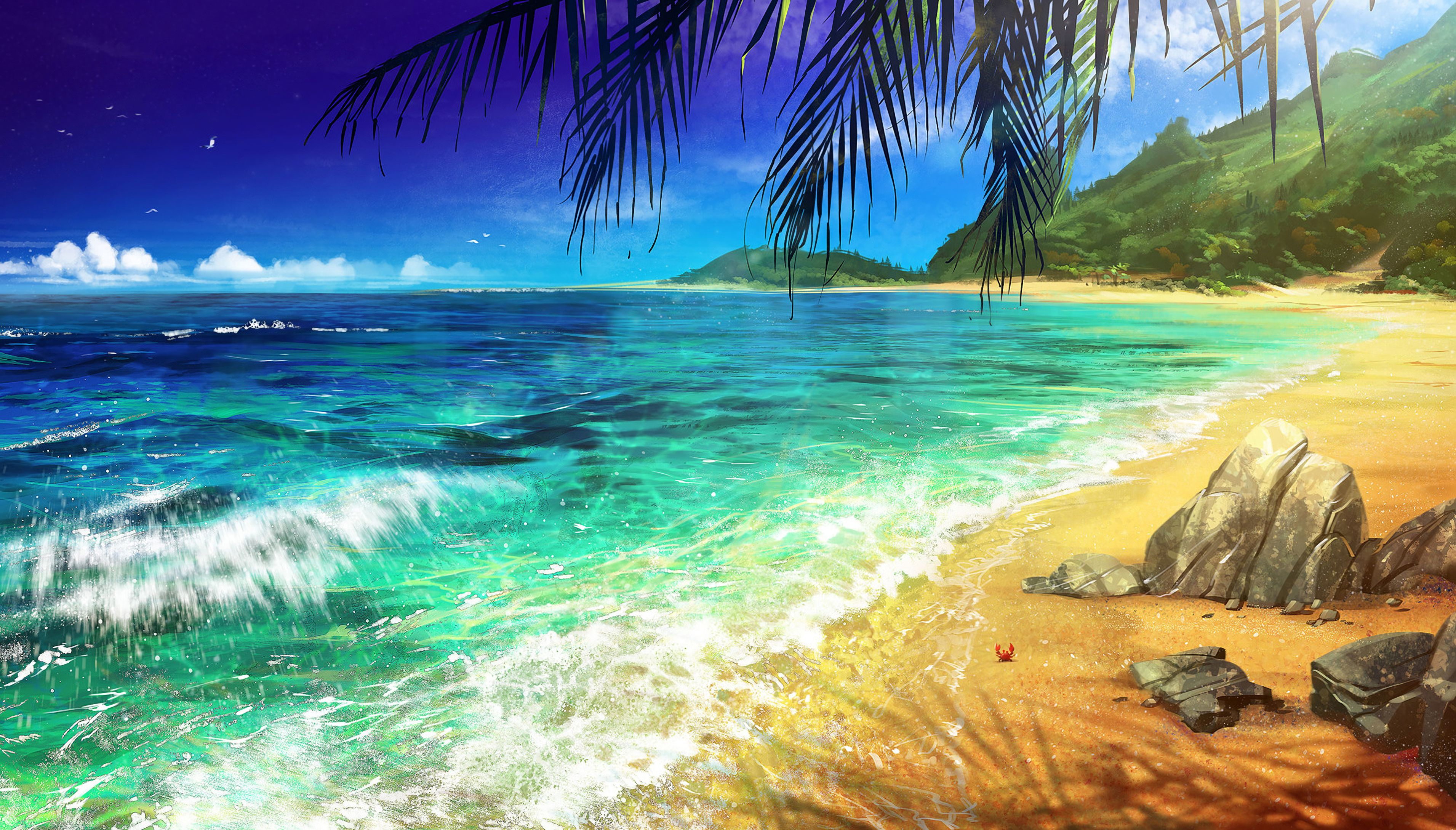 133729 download wallpaper Beach, Palm, Ocean, Art, Surf screensavers and pictures for free