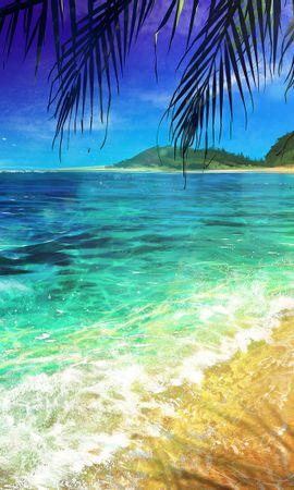無料の壁紙をダウンロード133729:携帯電話用のビーチ, パーム, 手のひら, 海洋, 大洋, アート, サーフ壁紙