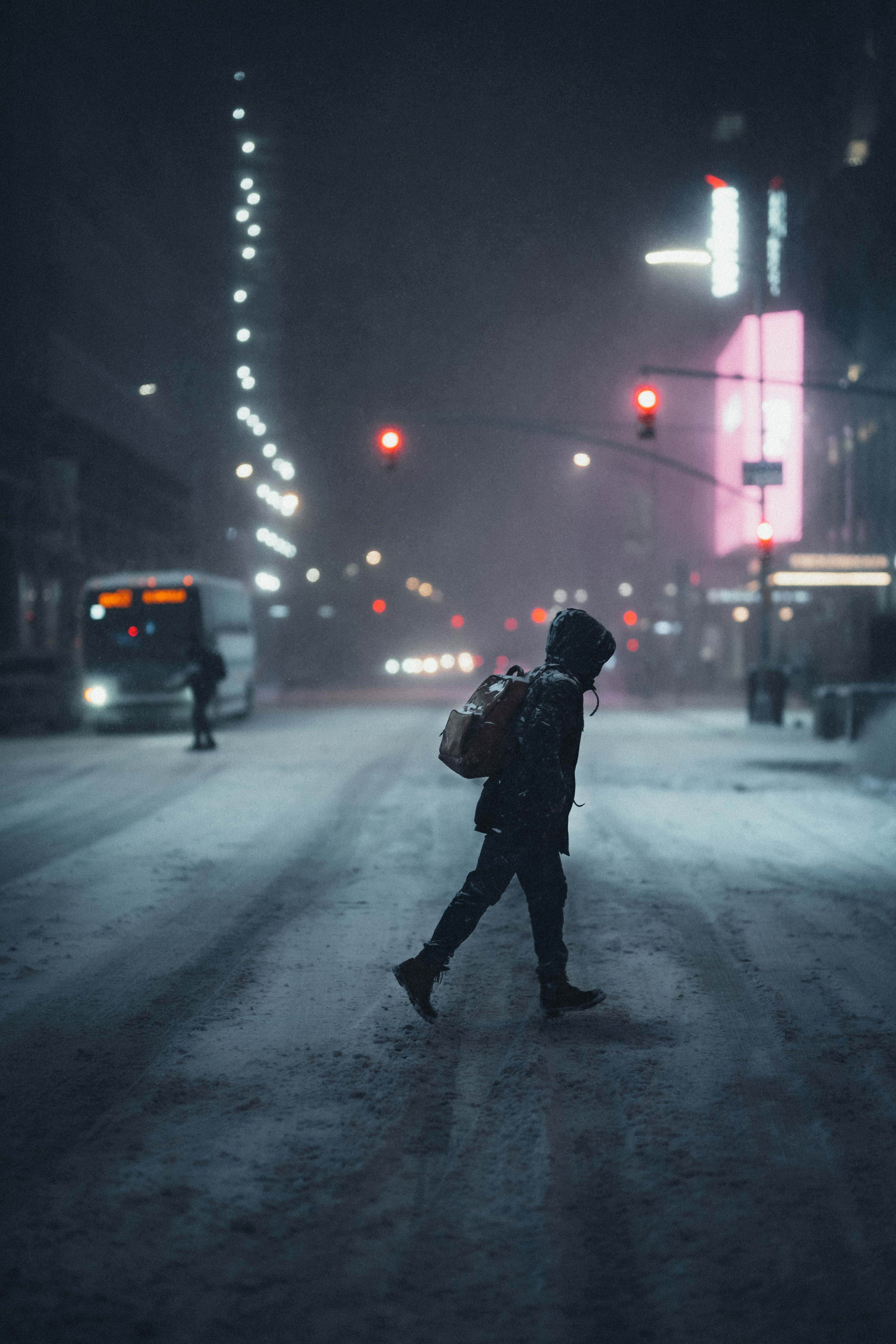109537 Screensavers and Wallpapers Human for phone. Download Night, Snow, Miscellanea, Miscellaneous, Human, Person, Street pictures for free