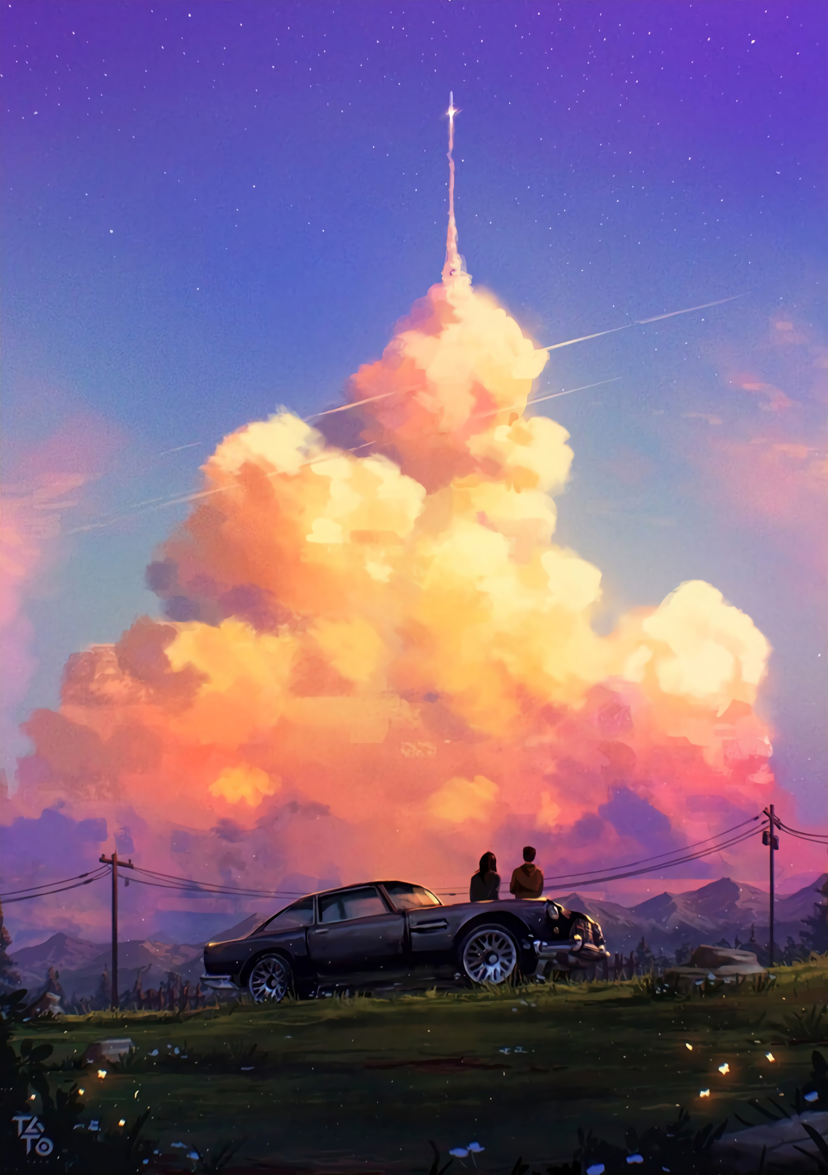 65905 download wallpaper Romance, Love, Car, Machine, Sunset, Art screensavers and pictures for free