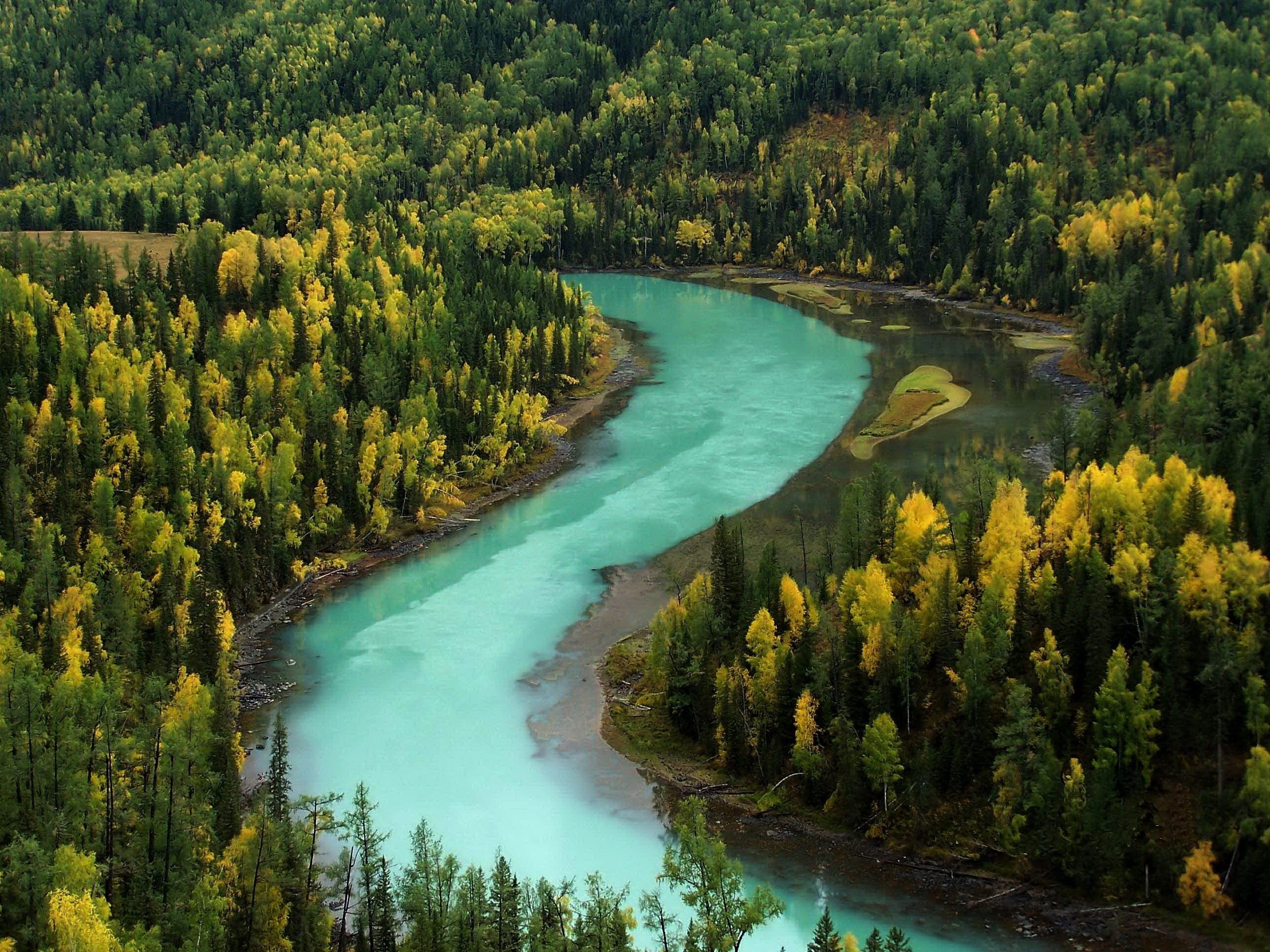 119342 завантажити шпалери Річка, Природа, Гори, Осінь, Ліс, Вигини, Блакитна Вода - заставки і картинки безкоштовно