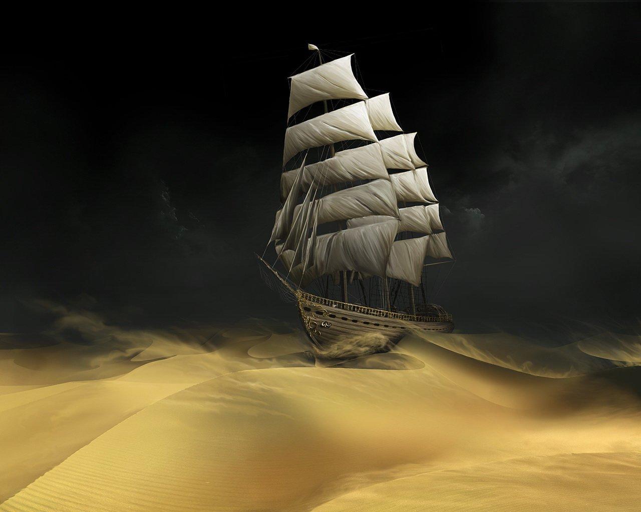 15701 скачать обои Транспорт, Арт, Корабли, Песок, Пустыня - заставки и картинки бесплатно