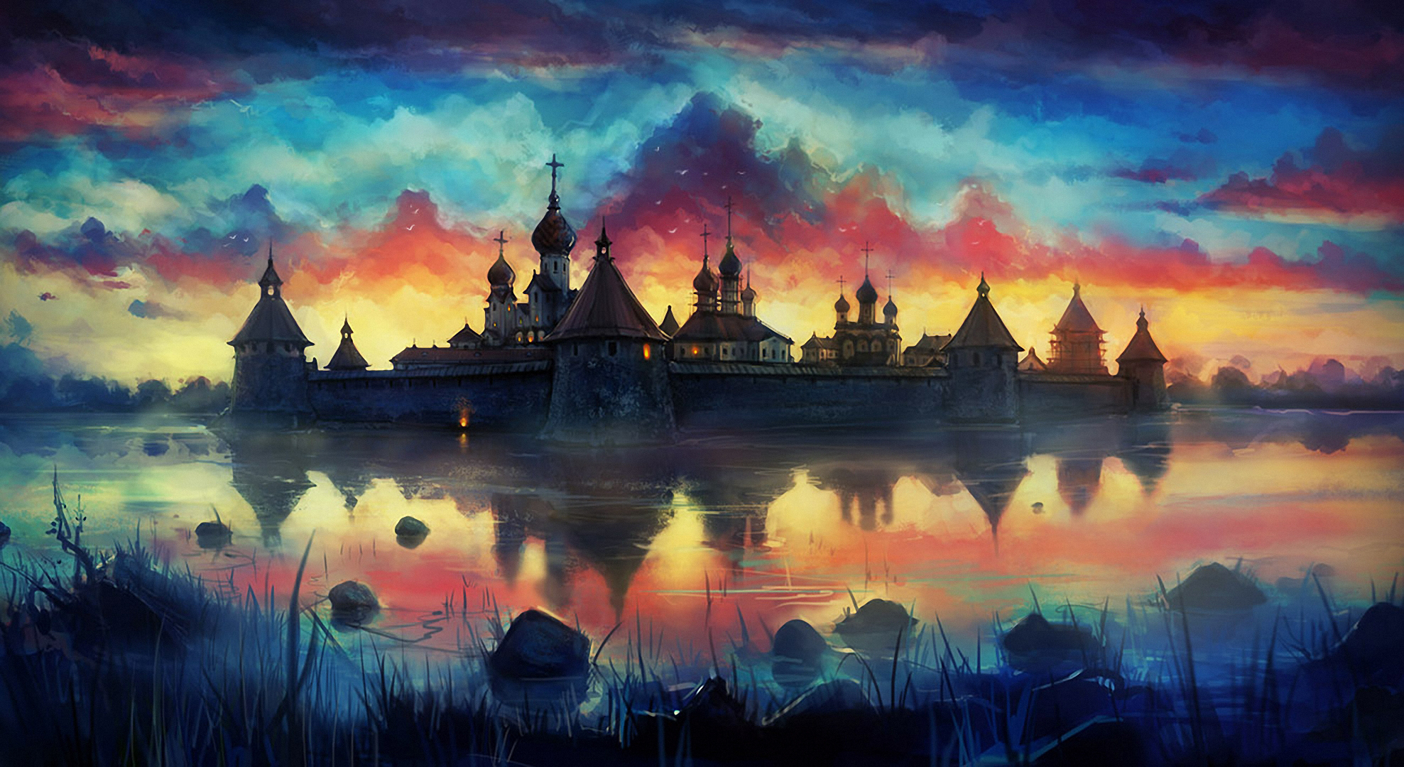 148353 download wallpaper Sky, Art, Picture, Drawing, Paints, Monastery screensavers and pictures for free