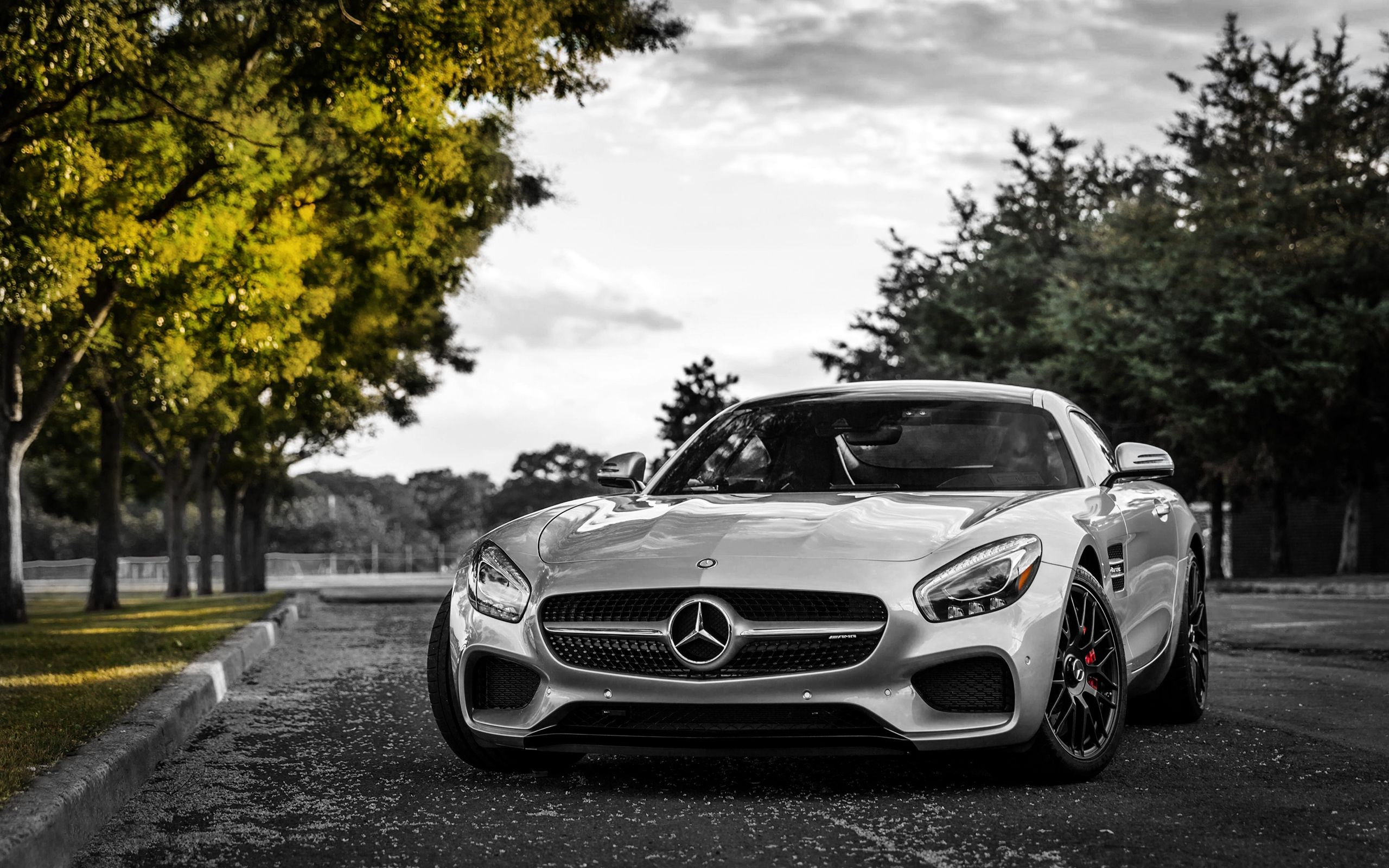100601 download wallpaper Cars, Front View, Mercedes-Benz, Silver, Silvery, Gt3, C190 screensavers and pictures for free