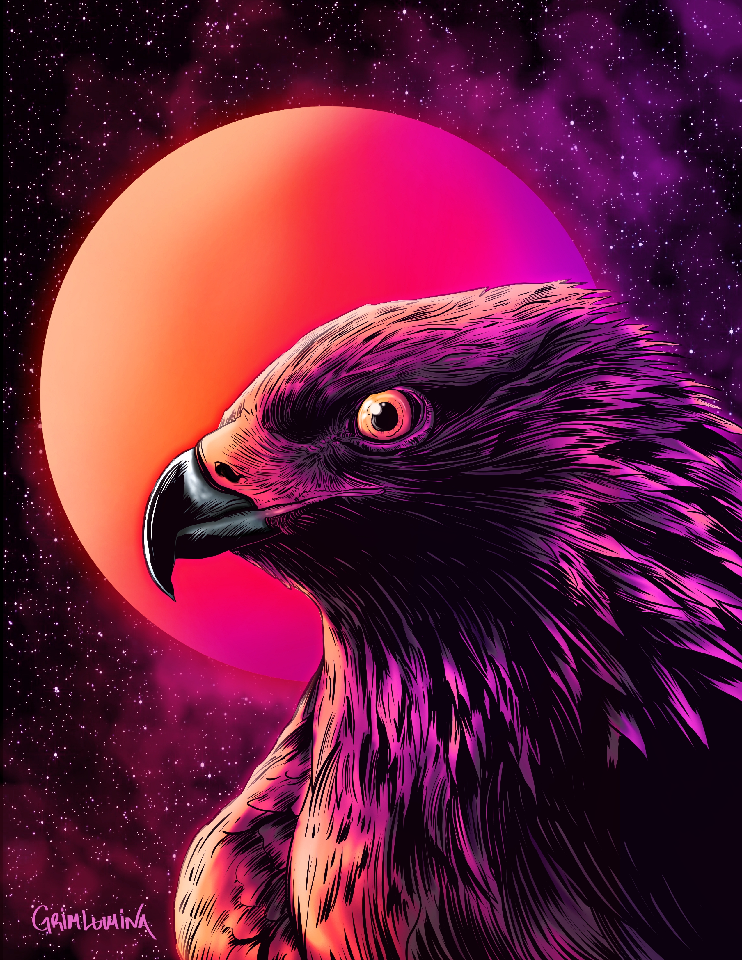 154277 Screensavers and Wallpapers Art for phone. Download Art, Night, Moon, Bird, Eagle pictures for free