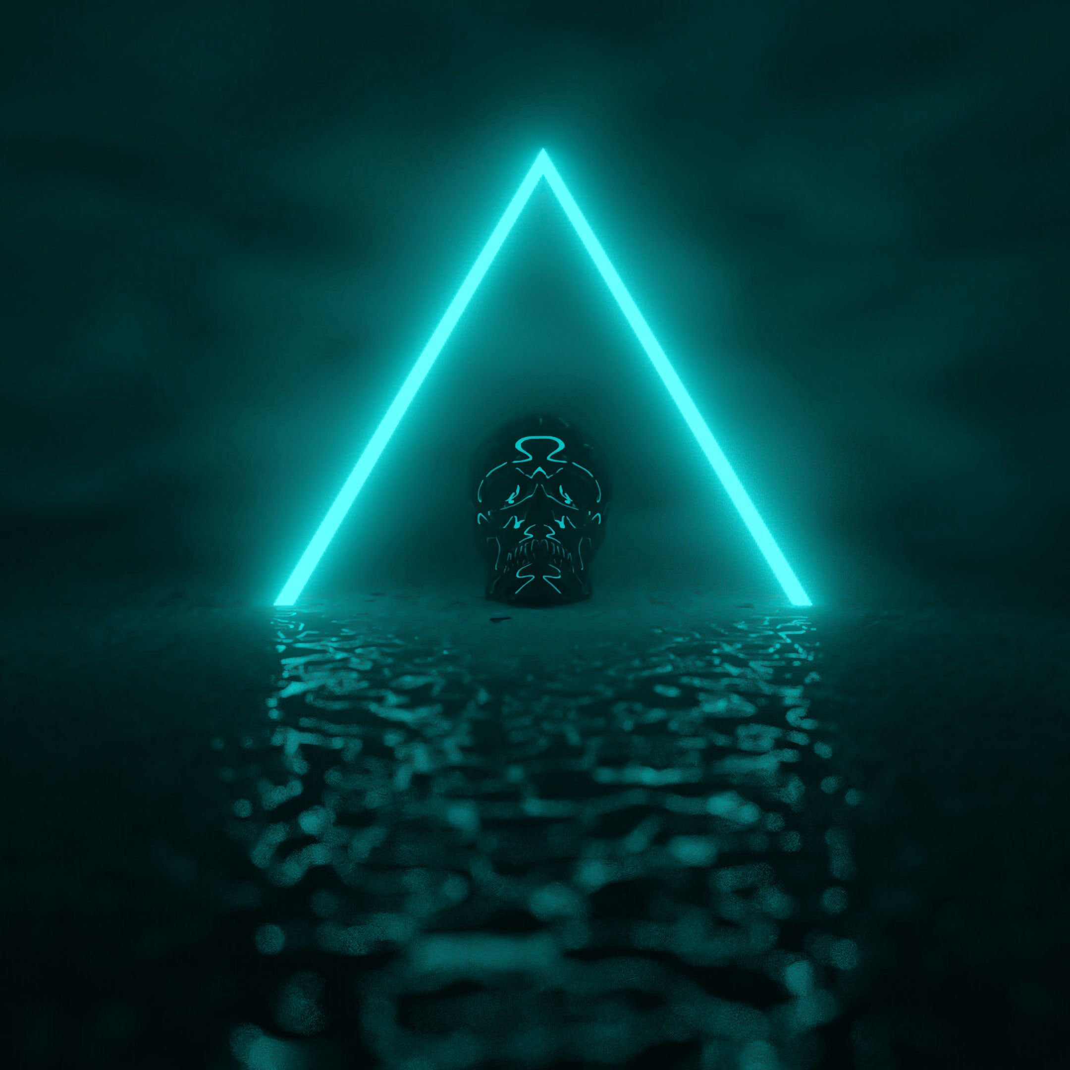 145626 download wallpaper Dark, Neon, Glow, Skull, Triangle screensavers and pictures for free