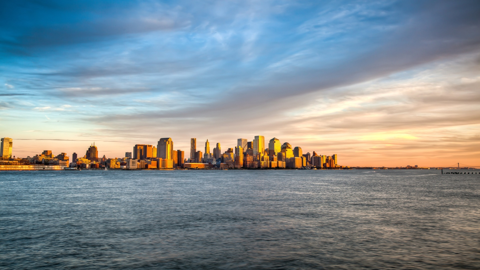 21882 download wallpaper Landscape, Cities, Sunset, Sea screensavers and pictures for free