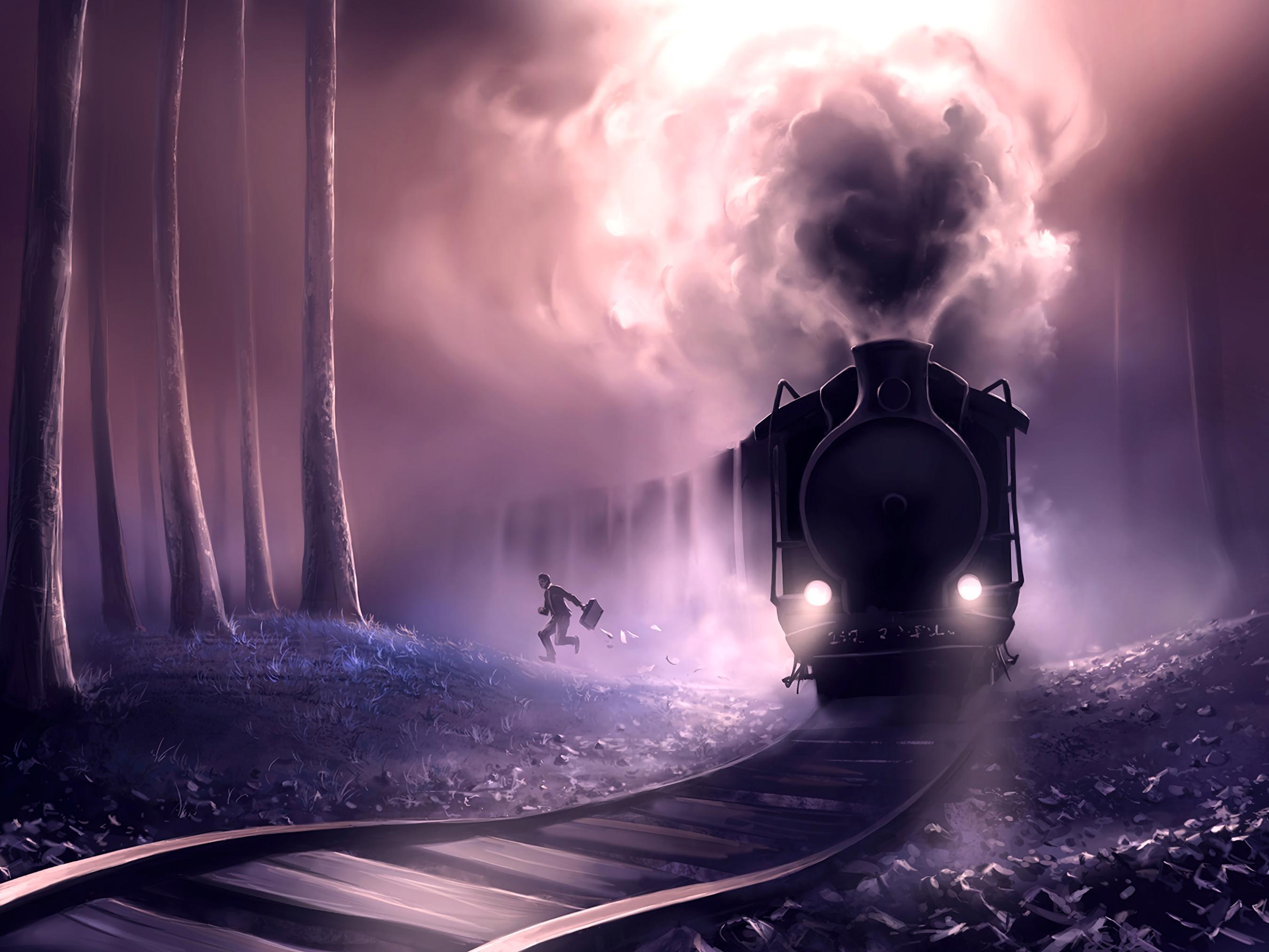 92059 Hintergrundbild 540x960 kostenlos auf deinem Handy, lade Bilder Eisenbahn, Kunst, Mensch, Person, Ein Zug, Zug, Sprießen, Eile, Die Flucht 540x960 auf dein Handy herunter