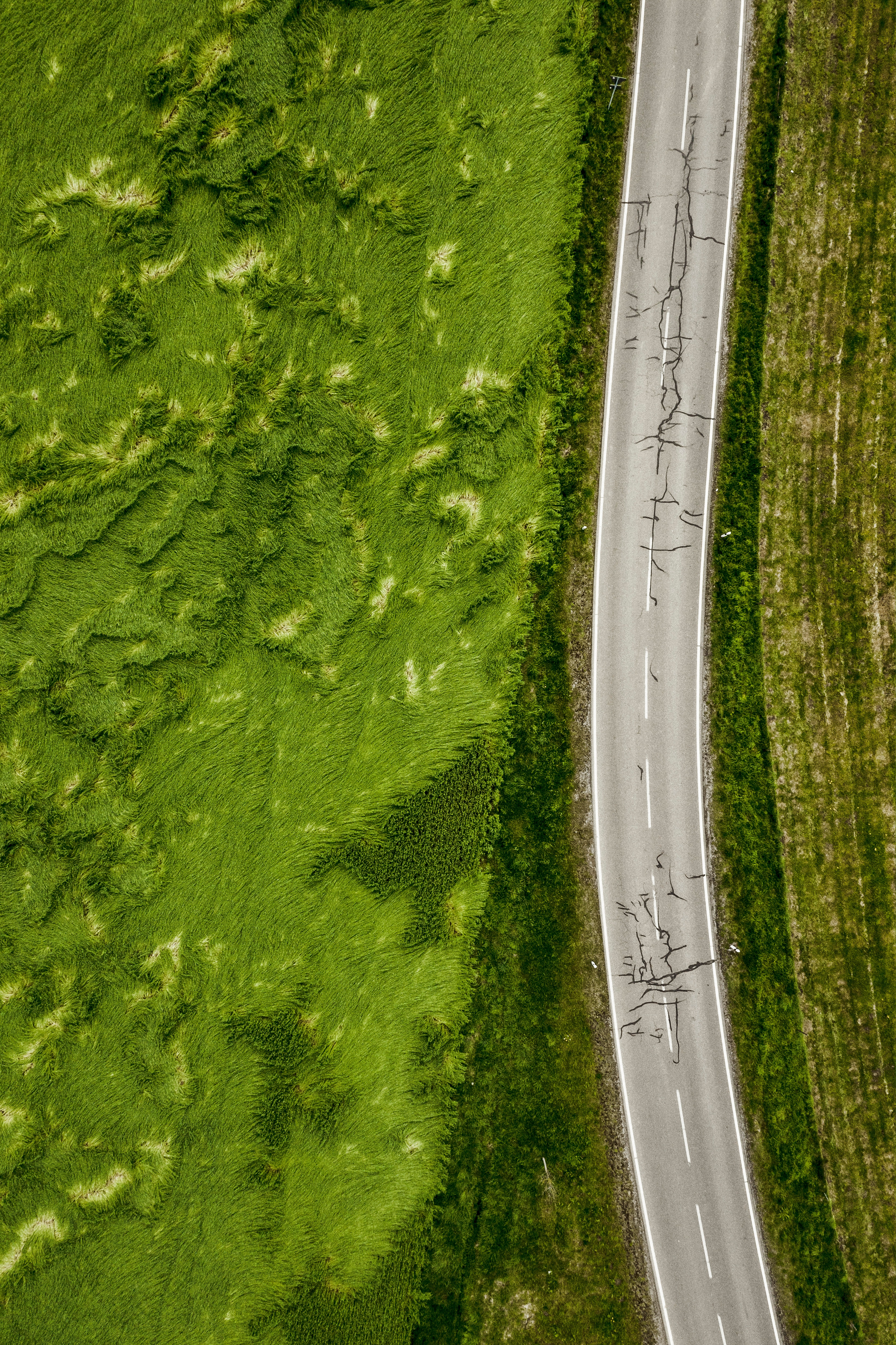 71874 Screensavers and Wallpapers Roads for phone. Download Nature, Grass, Roads, View From Above, Asphalt, Greens pictures for free