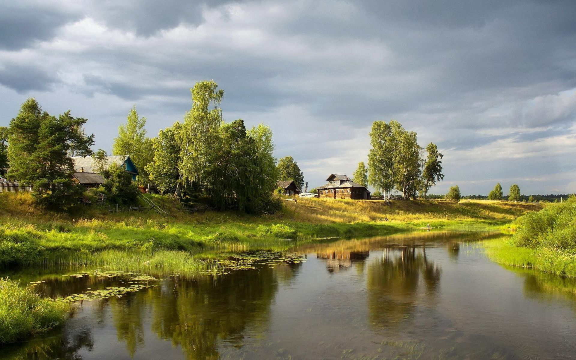 142455 Screensavers and Wallpapers Summer for phone. Download Nature, Rivers, Trees, Sky, Summer, Water Lilies, Shore, Village, Mainly Cloudy, Overcast, Creek, Brook, Shores, Finely pictures for free