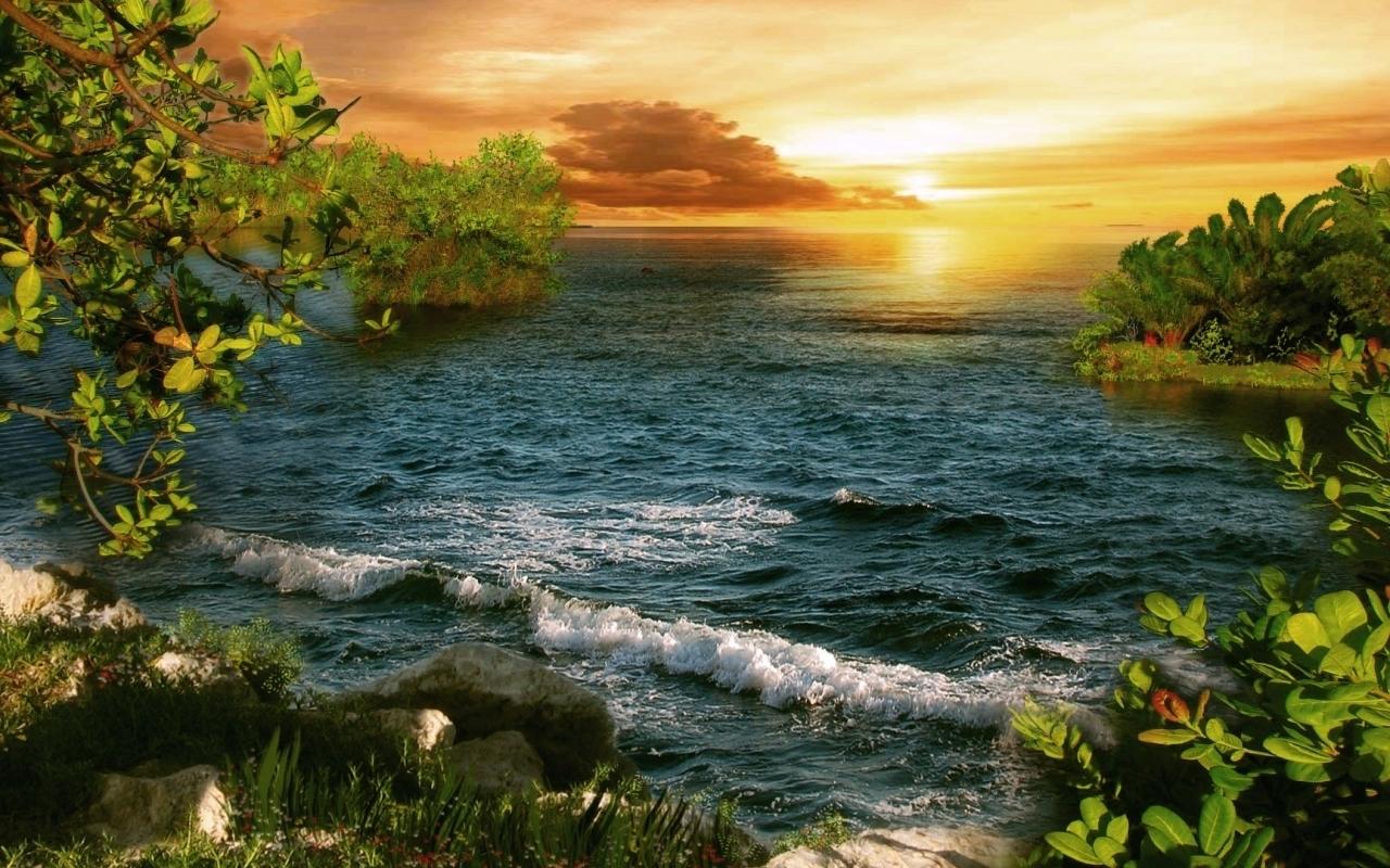 25293 скачать обои Пейзаж, Закат, Море, Волны - заставки и картинки бесплатно