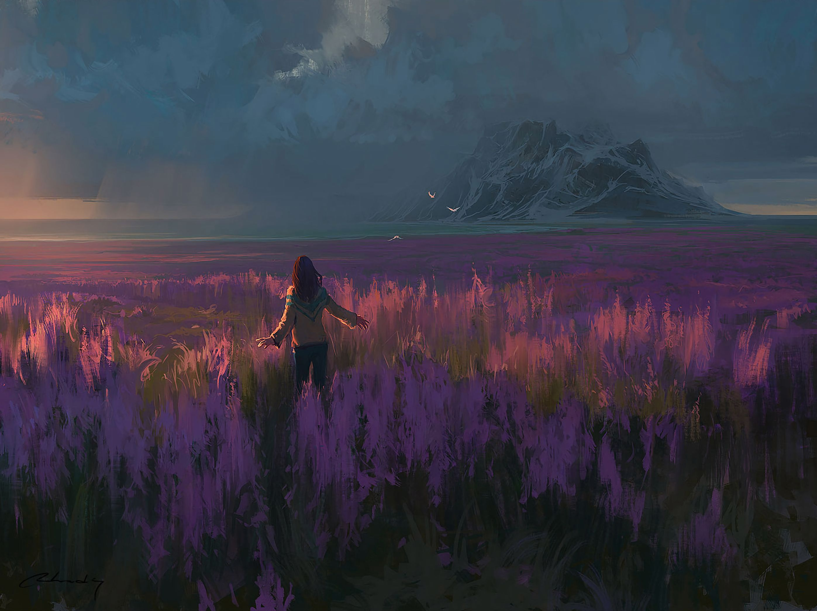 111310 download wallpaper Girl, Field, Art, Freedom, Lavender screensavers and pictures for free
