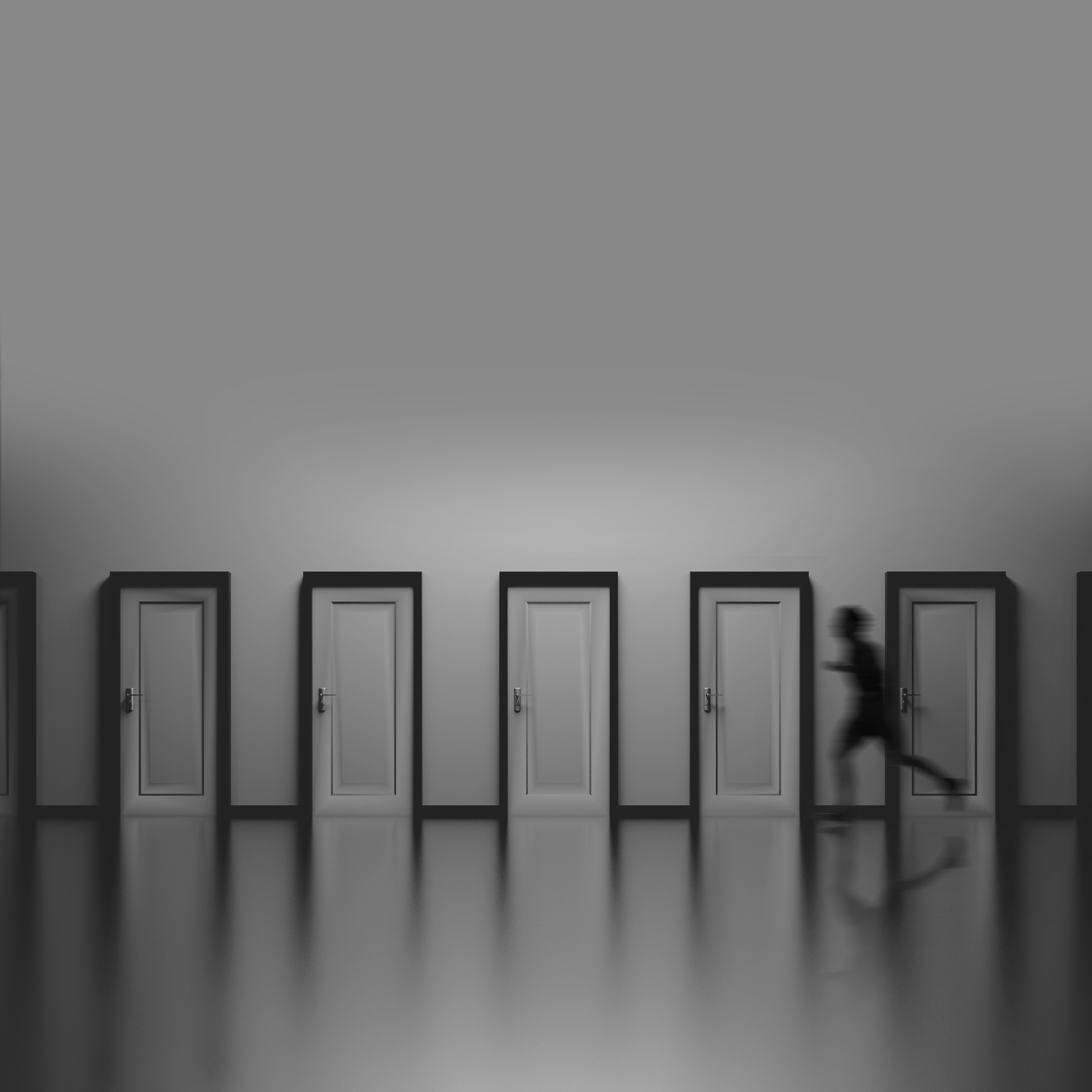 136264 download wallpaper Silhouette, Minimalism, Bw, Chb, Speed, Doors, Door, Run, Running screensavers and pictures for free