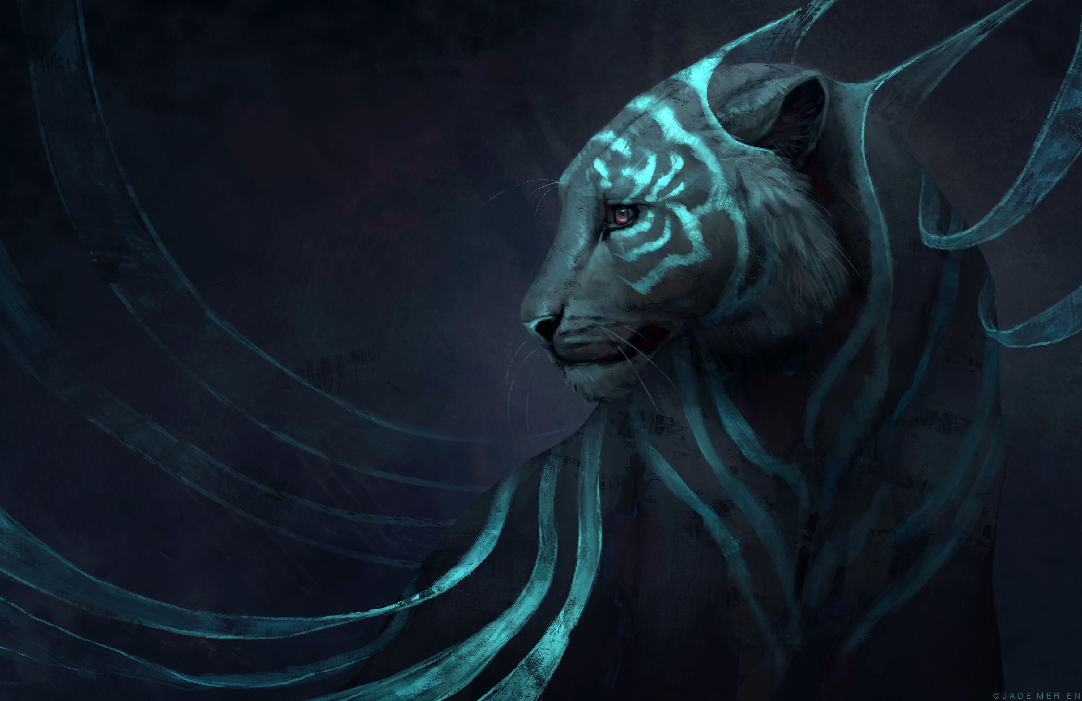 113460 download wallpaper Art, Predator, Tiger, Fantastic screensavers and pictures for free
