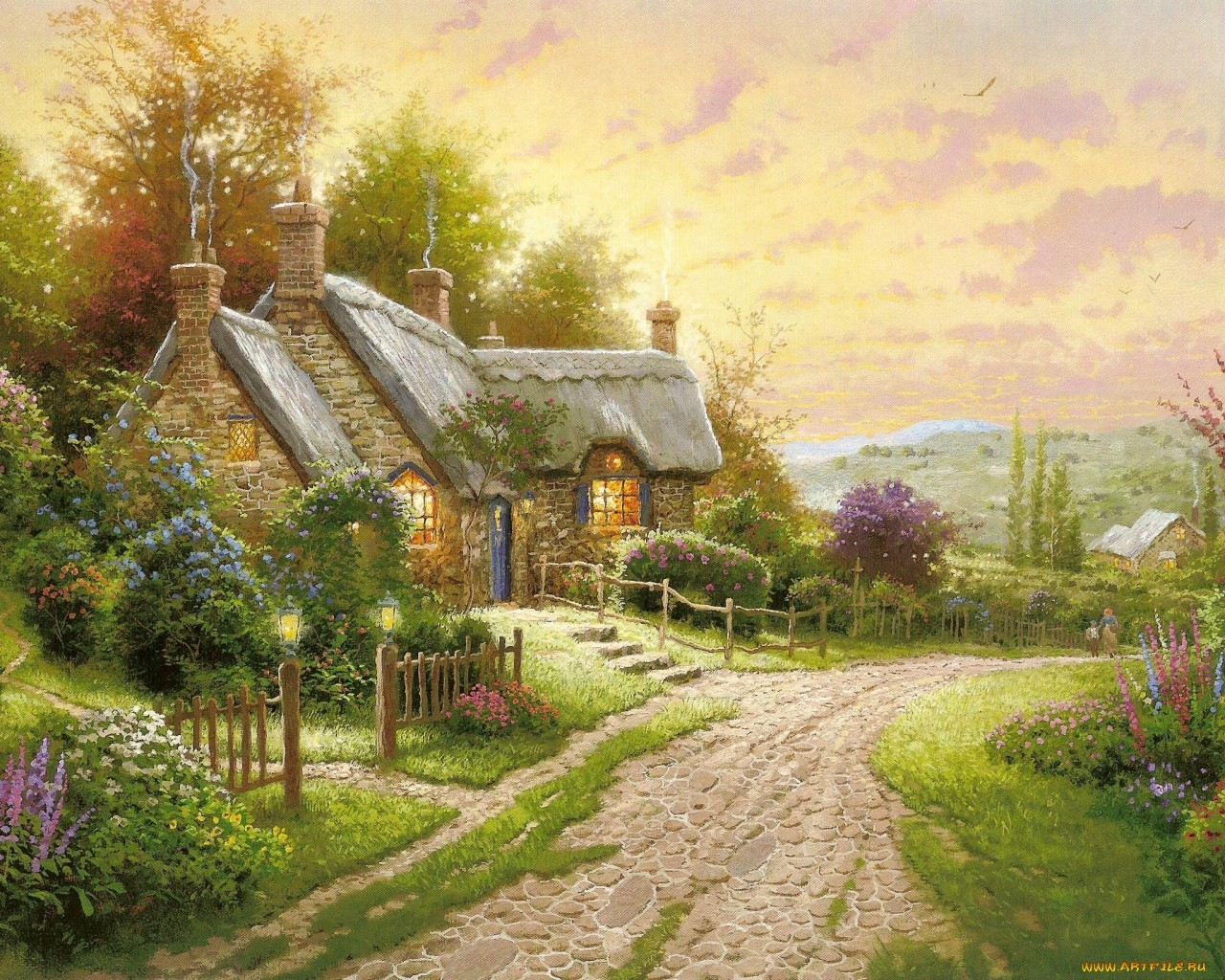 17935 download wallpaper Landscape, Houses, Sunset, Pictures screensavers and pictures for free