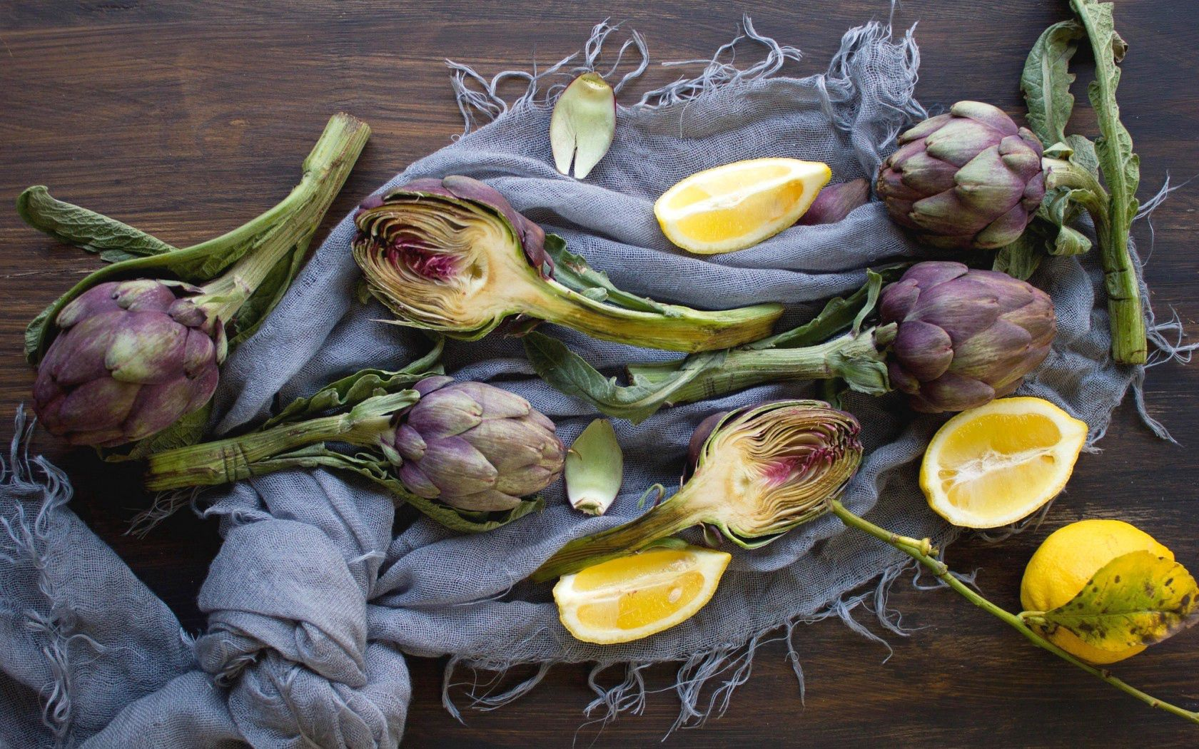 117585 Screensavers and Wallpapers Scarf for phone. Download Fruits, Food, Vegetables, Lemon, Scarf, Artichoke pictures for free
