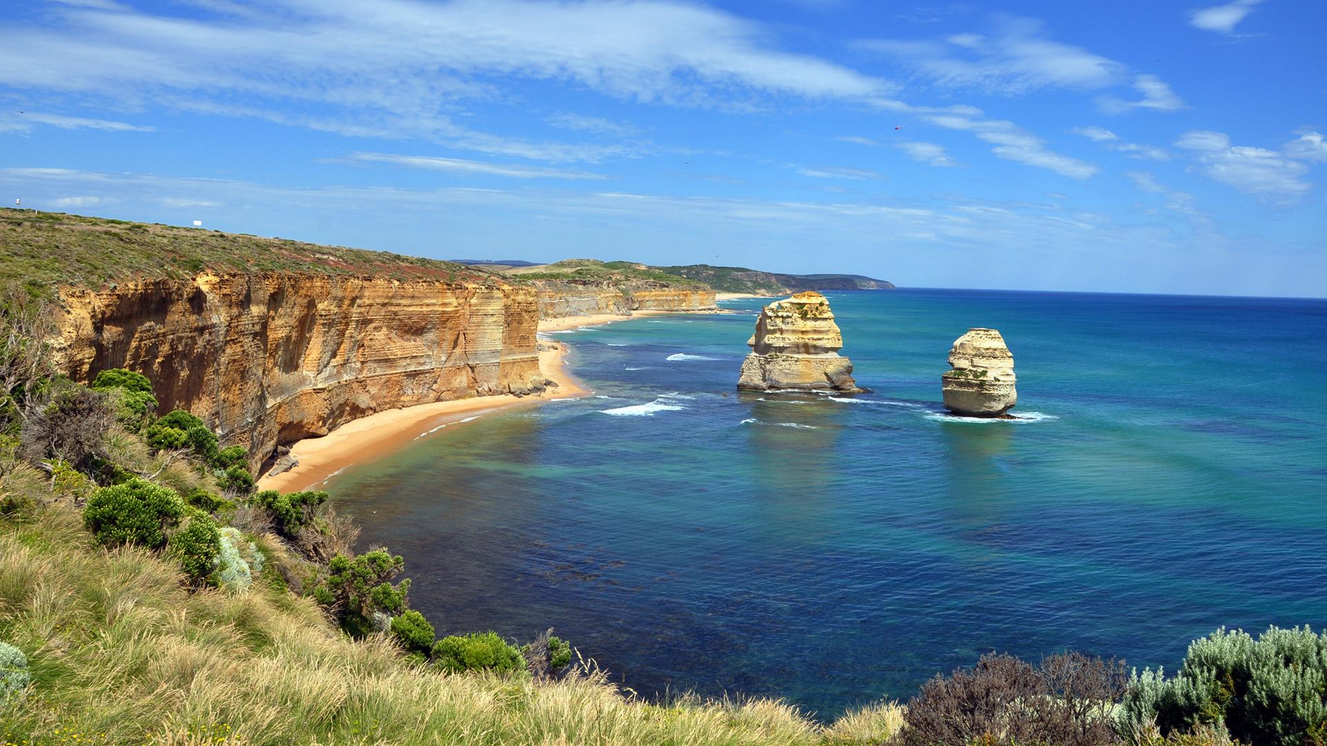 免费下载海, 景观, 山手机壁纸。