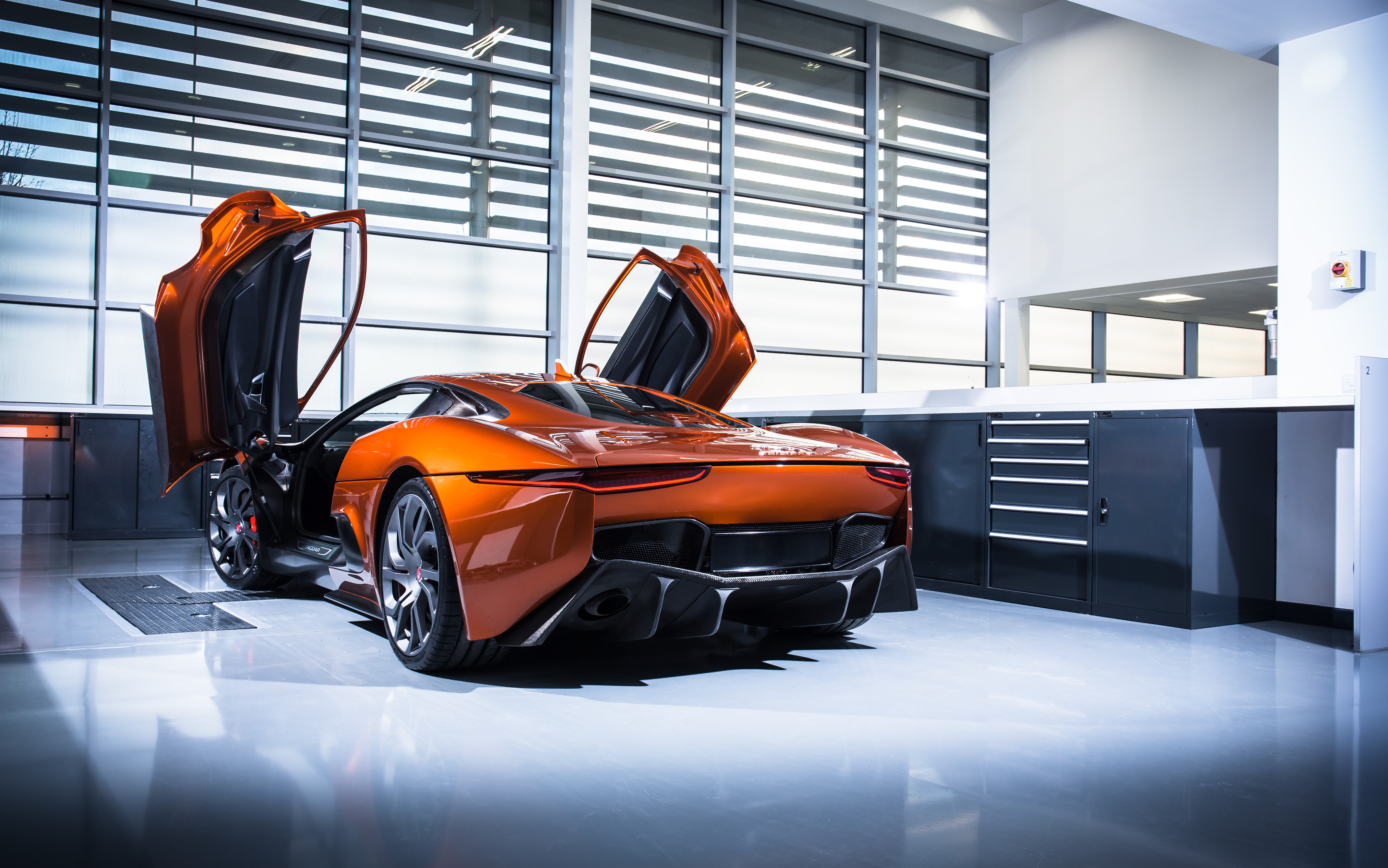 122620 download wallpaper Sports, Jaguar, Cars, Sports Car, Side View, Jaguar C-X75 screensavers and pictures for free