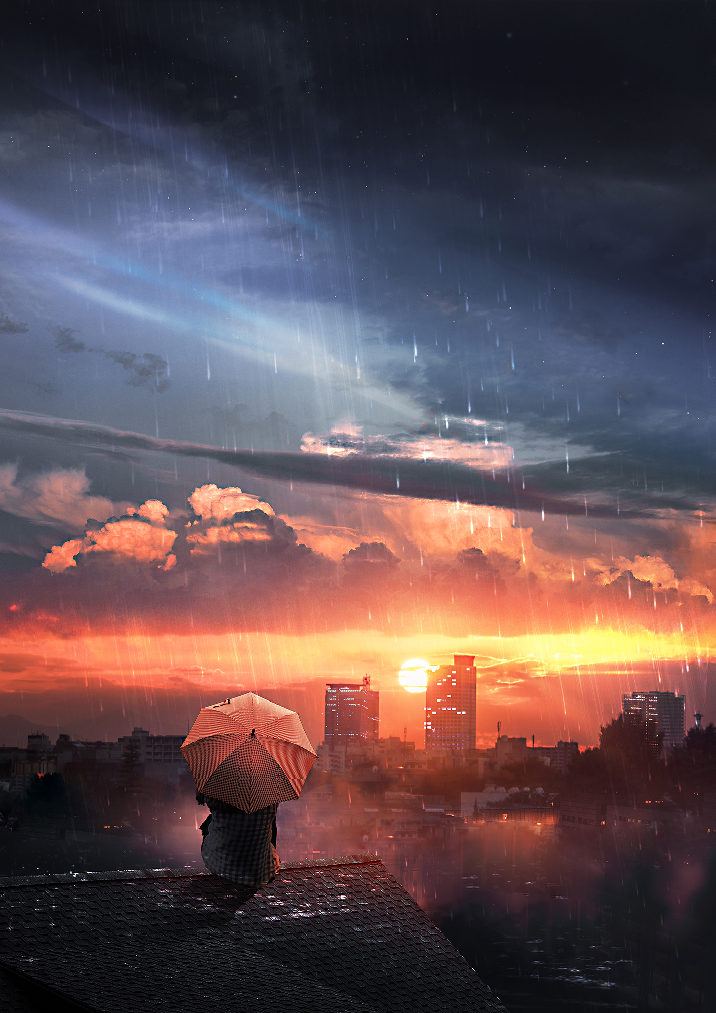 101244 download wallpaper Art, Roof, Rain, Umbrella, Night, Sky, Privacy, Seclusion, Loneliness screensavers and pictures for free
