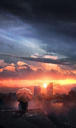 101244 Заставки и Обои Ночь на телефон. Скачать Арт, Крыша, Дождь, Зонт, Ночь, Небо, Уединение, Одиночество картинки бесплатно