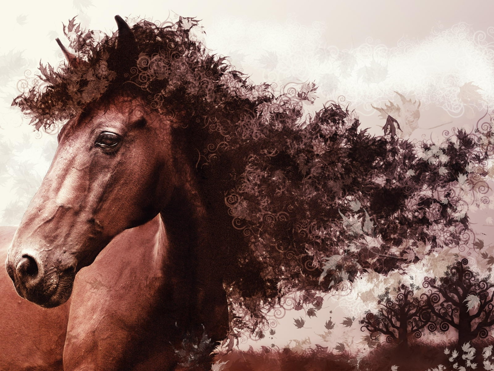 7384 download wallpaper Animals, Art, Horses screensavers and pictures for free