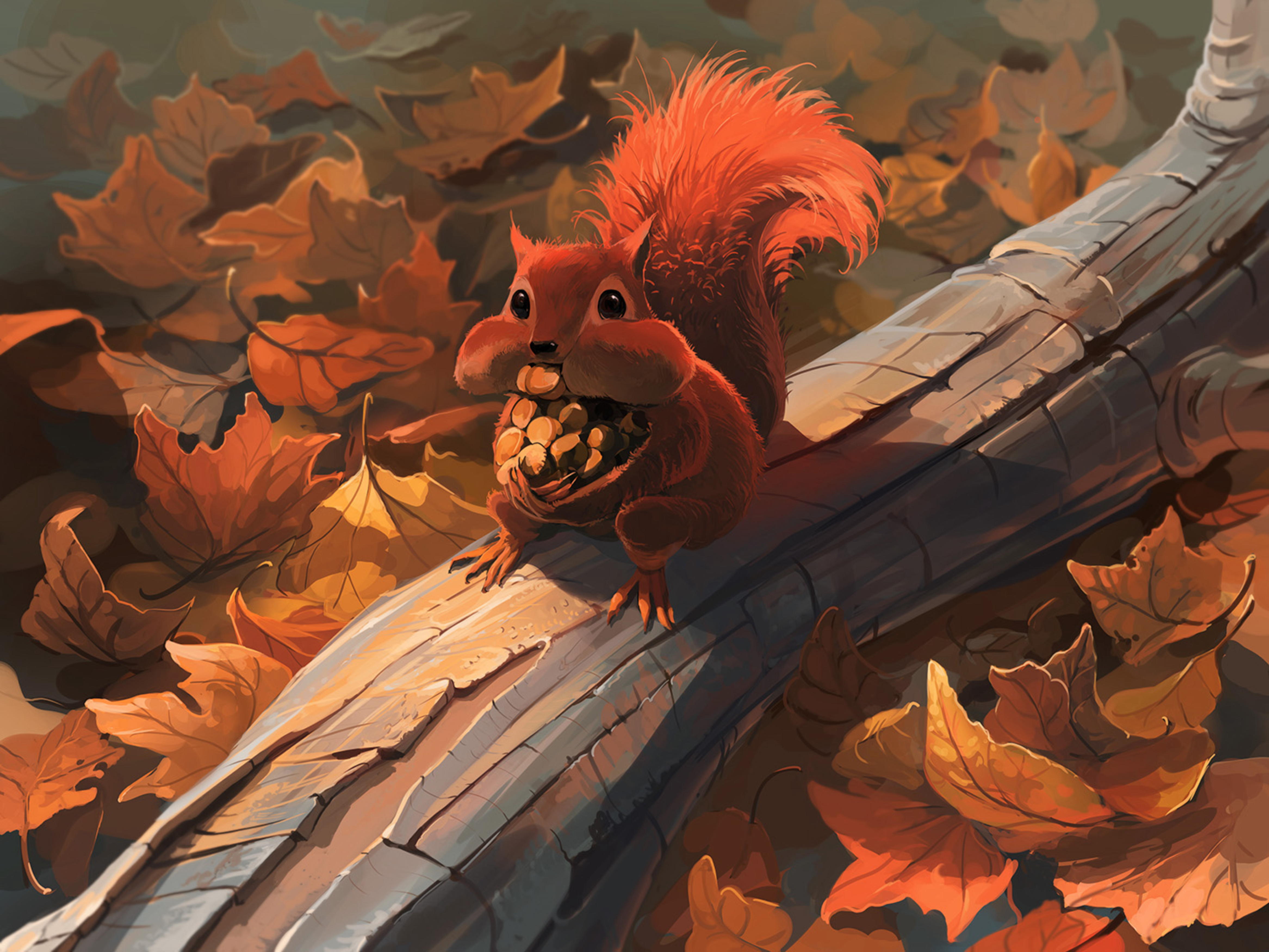 89635 download wallpaper Squirrel, Food, Art, Autumn, Nuts, Foliage screensavers and pictures for free