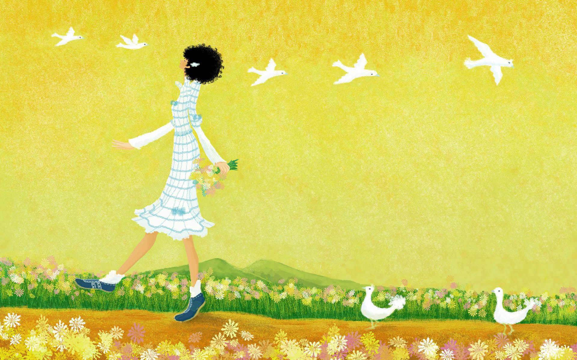 145975 download wallpaper Miscellanea, Miscellaneous, Girl, Stroll, Picture, Drawing, Nature screensavers and pictures for free