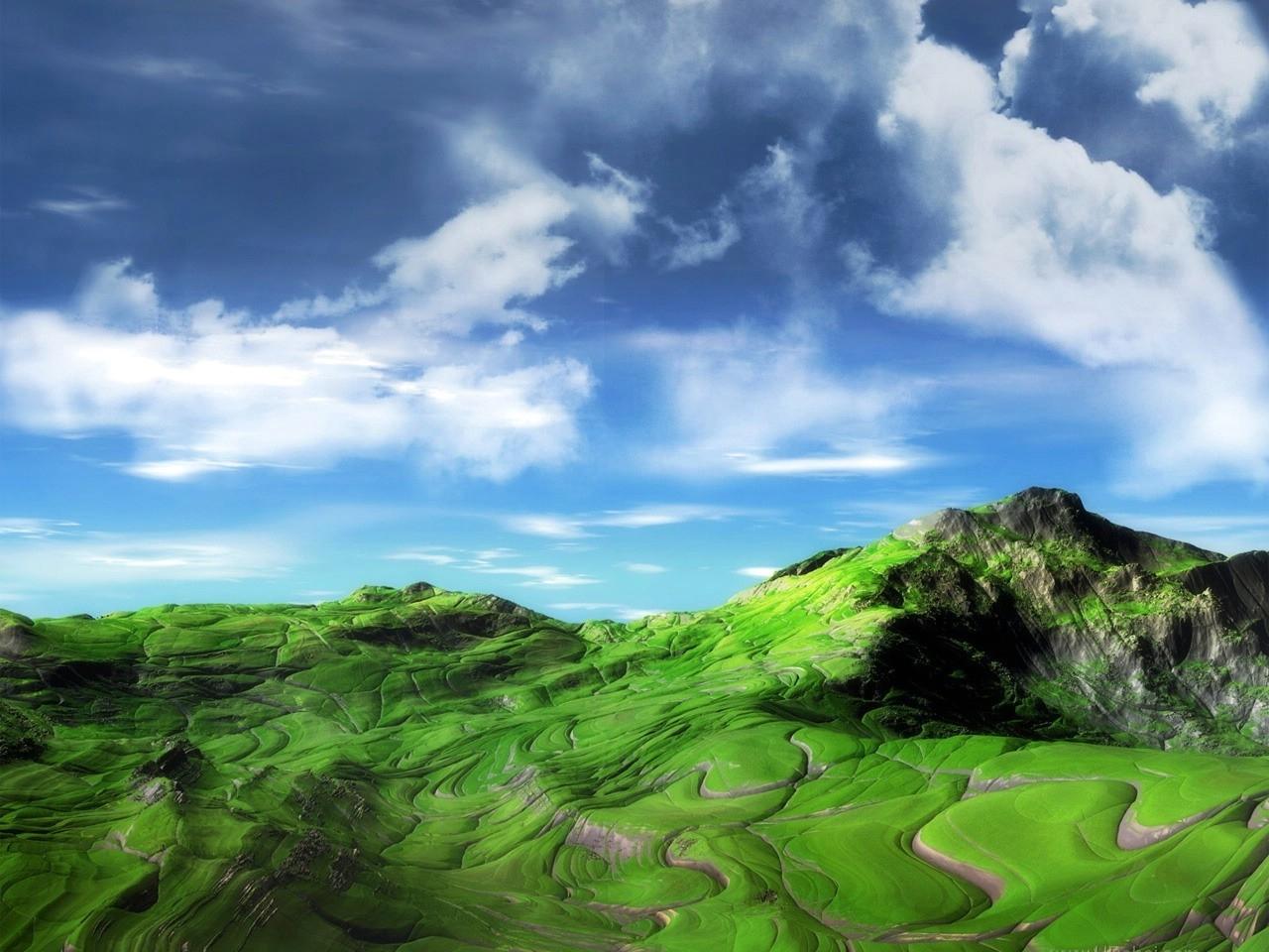 25038 скачать обои Пейзаж, Поля, Горы, Облака - заставки и картинки бесплатно