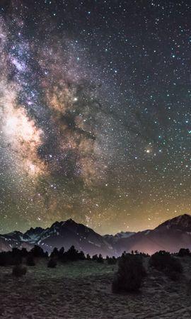 107409 Заставки и Обои Ночь на телефон. Скачать Галактика, Ночь, Звездное Небо, Горы, Космос картинки бесплатно