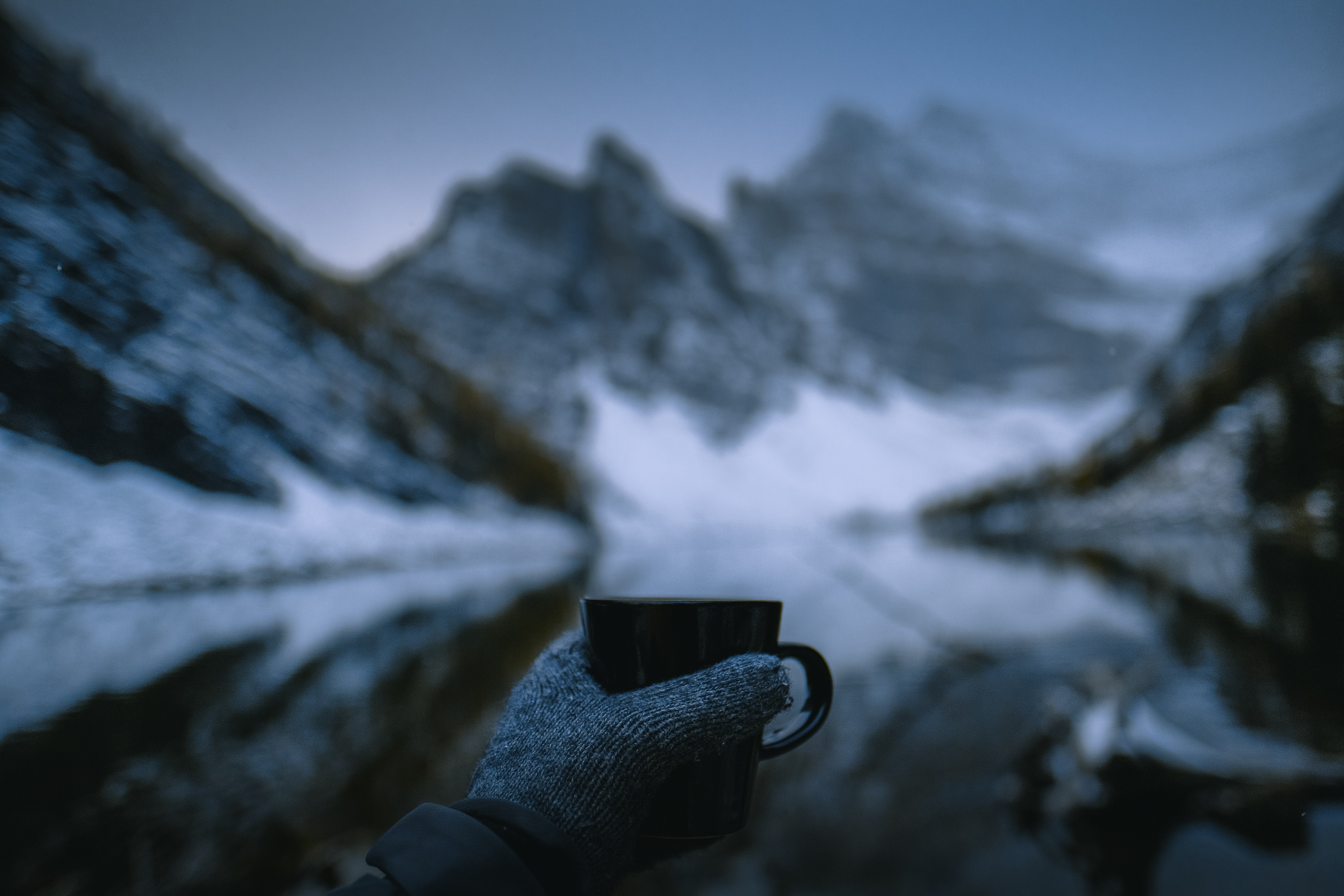 149526 Screensavers and Wallpapers Hand for phone. Download Miscellanea, Miscellaneous, Cup, Mug, Hand, Glove, Nature, Mountains pictures for free