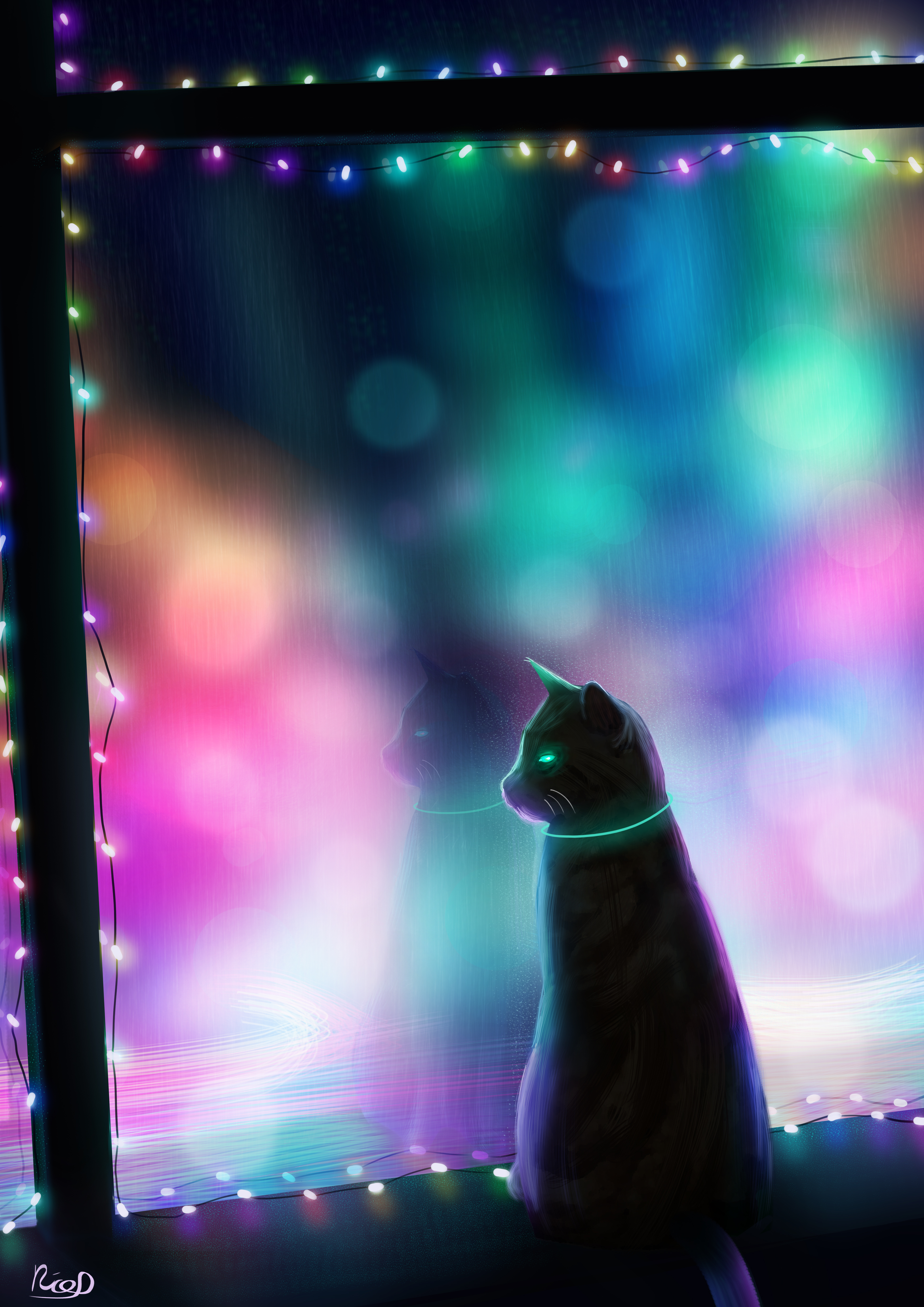 155512 download wallpaper Art, Multicolored, Motley, Cat, Window, Garland screensavers and pictures for free