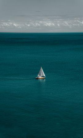 123797 download wallpaper Minimalism, Sea, Boat, Sailboat, Sailfish, Water, Horizon screensavers and pictures for free
