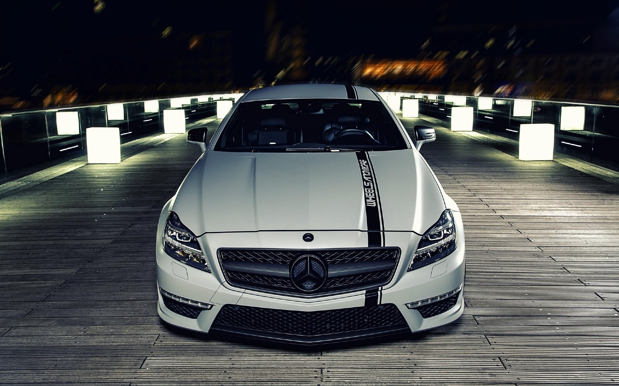 102175 Screensavers and Wallpapers Front View for phone. Download Night, Cars, Front View, Mercedes-Benz, Bumper, Mercedes Benz Cls pictures for free