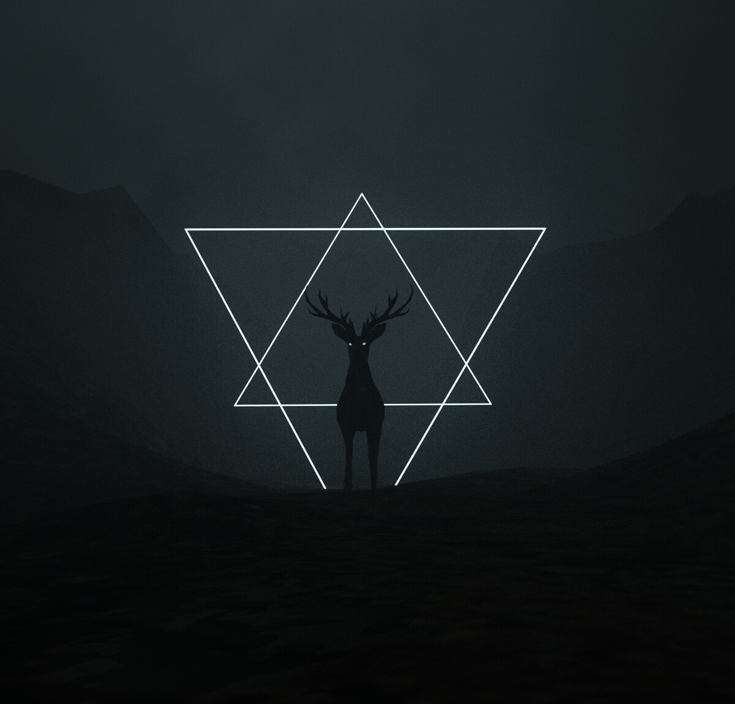 113367 download wallpaper Dark, Deer, Triangles, Art screensavers and pictures for free