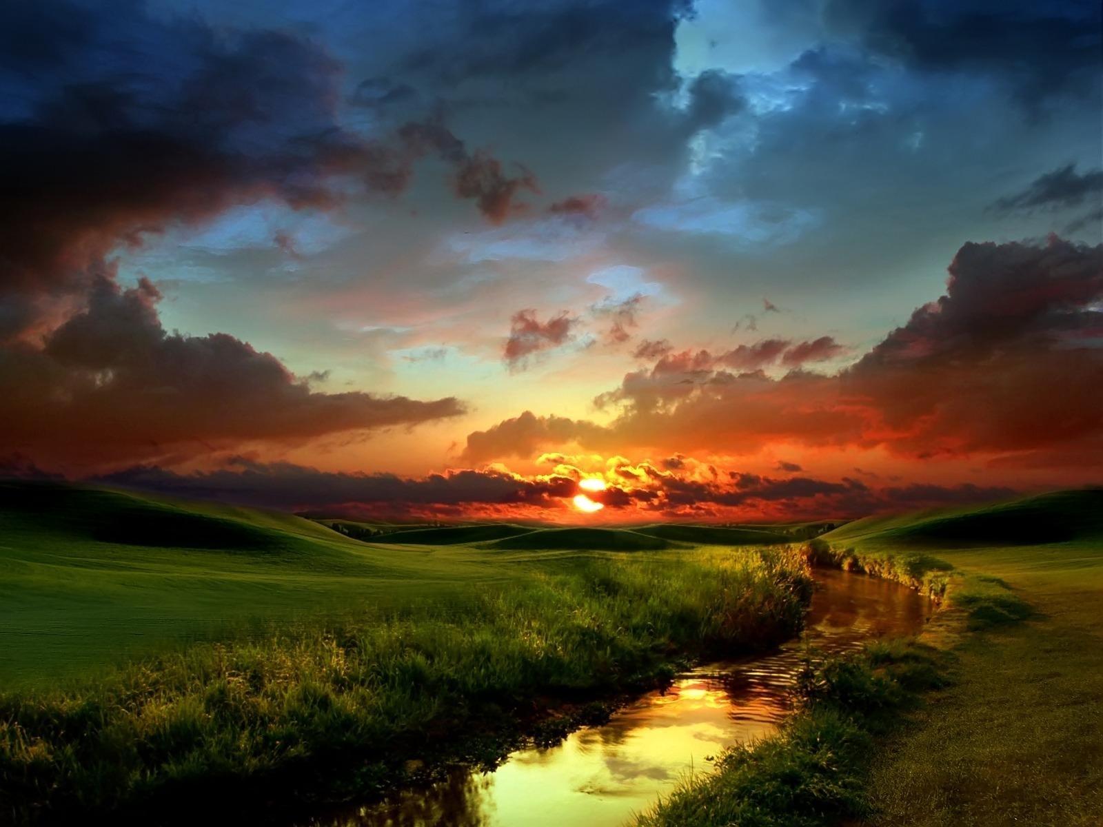 8842 скачать обои Пейзаж, Река, Закат, Небо, Солнце - заставки и картинки бесплатно