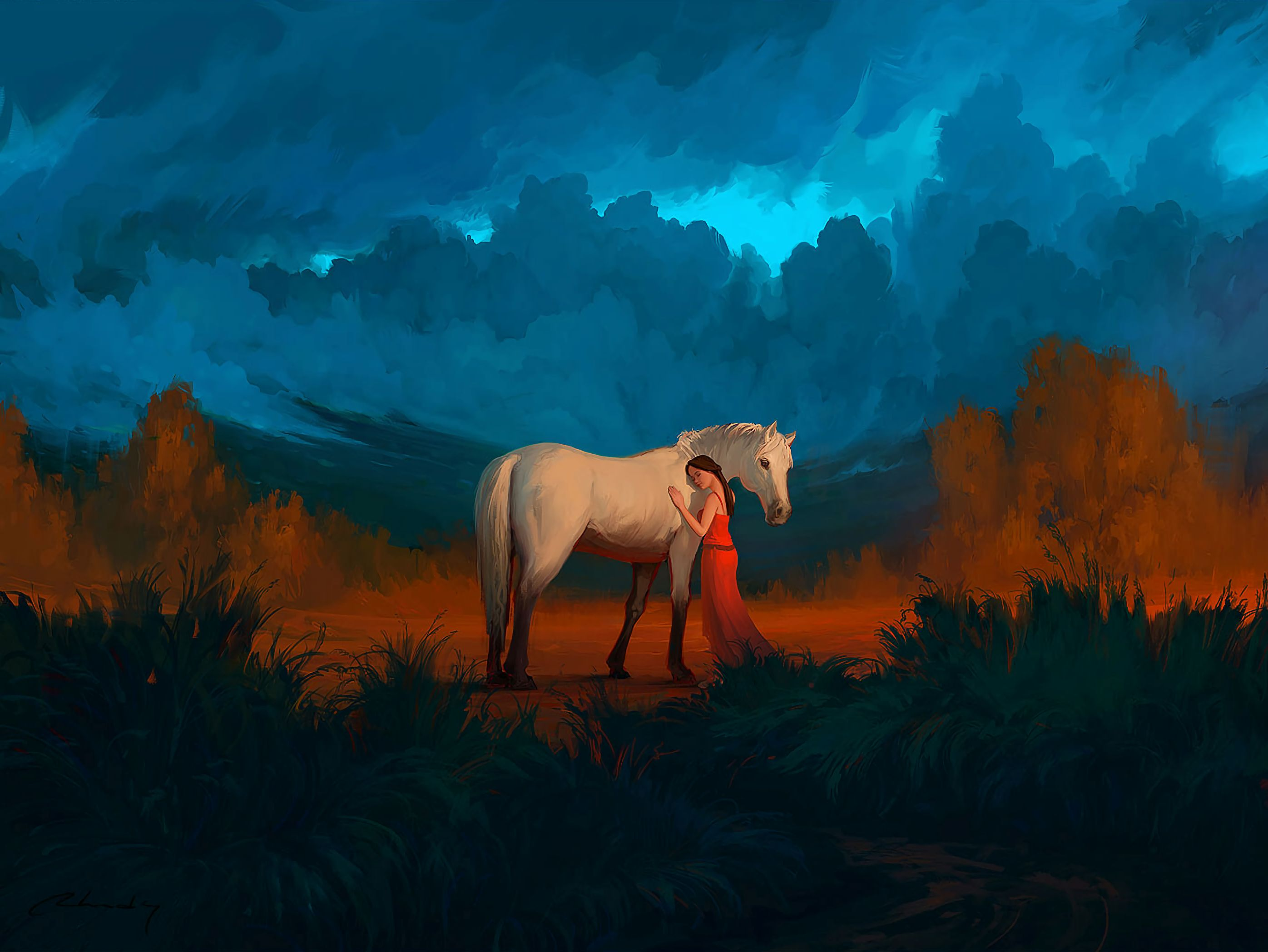 147487 download wallpaper Art, Girl, Care, Horse, Friends screensavers and pictures for free