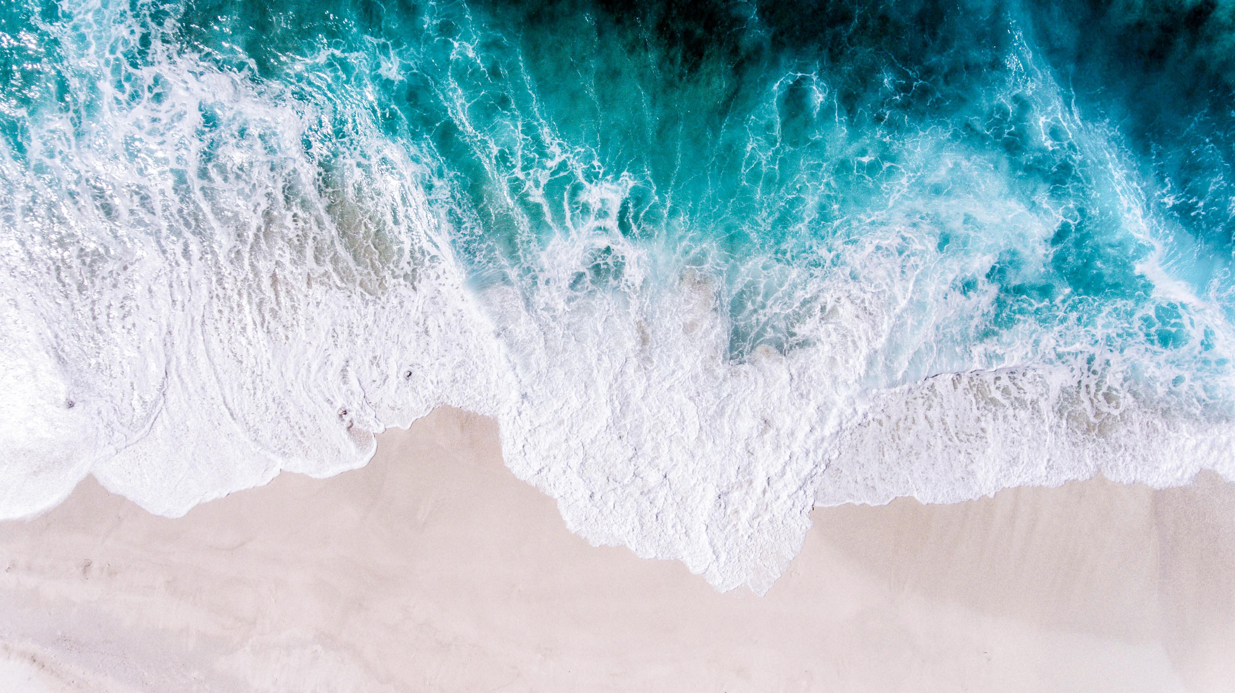 144076 Заставки и Обои Песок на телефон. Скачать Вид Сверху, Песок, Природа, Берег, Океан, Пена, Прибой, Волна картинки бесплатно