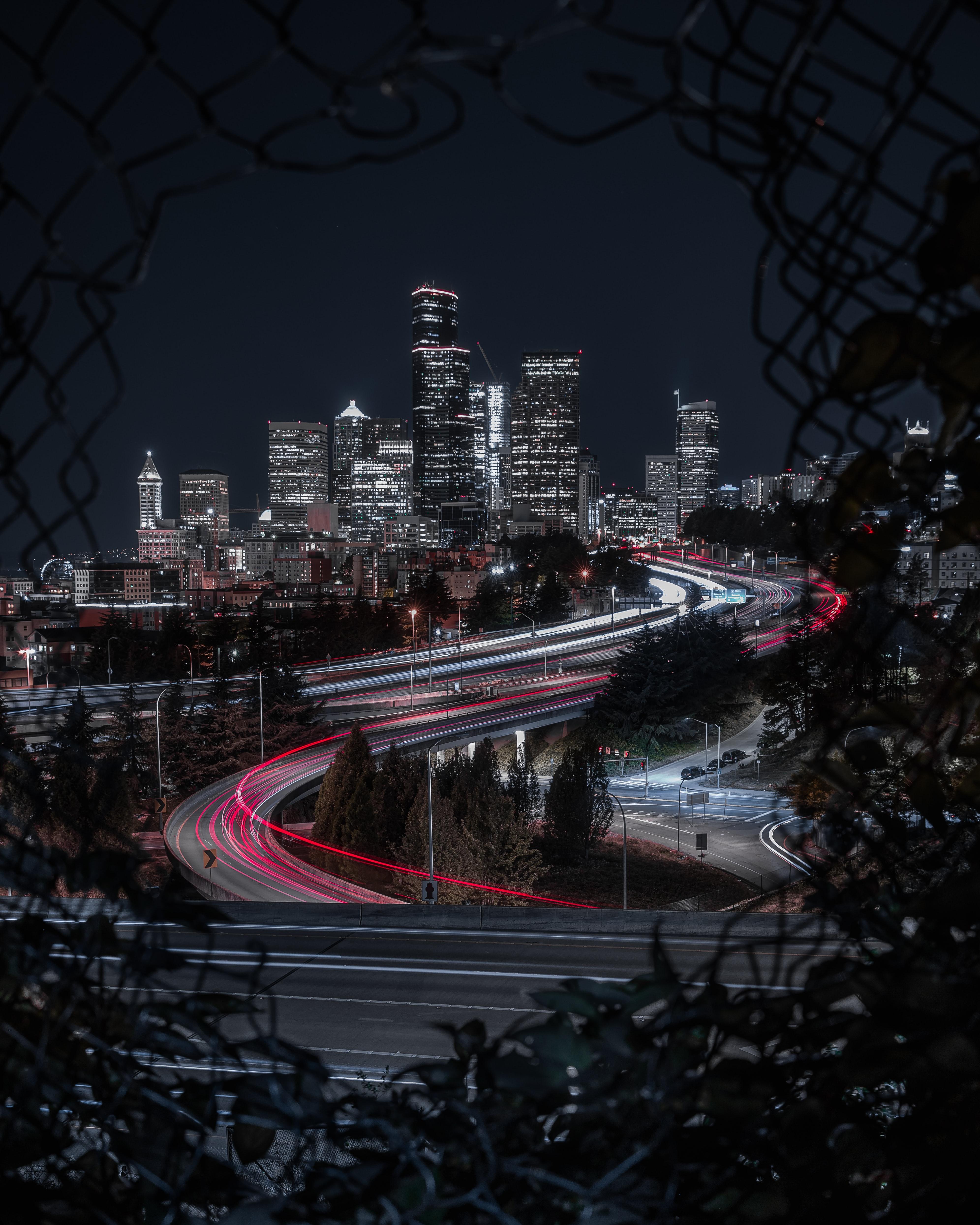 86358 скачать обои Дороги, Города, Здания, Огни, Длинная Выдержка, Ночной Город - заставки и картинки бесплатно