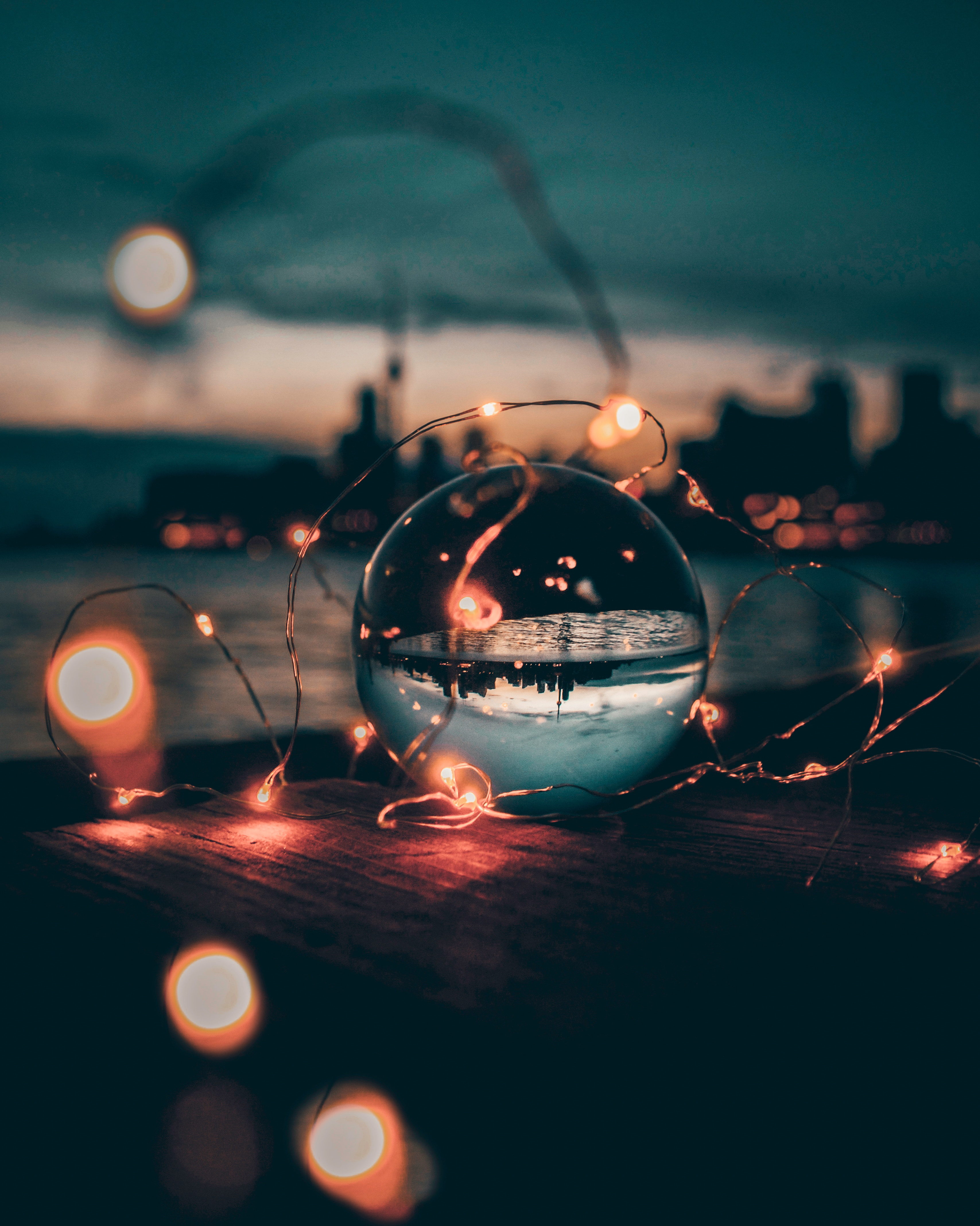 68734 download wallpaper Glass, Macro, Sunset, Transparent, Ball, Garland, Garlands screensavers and pictures for free