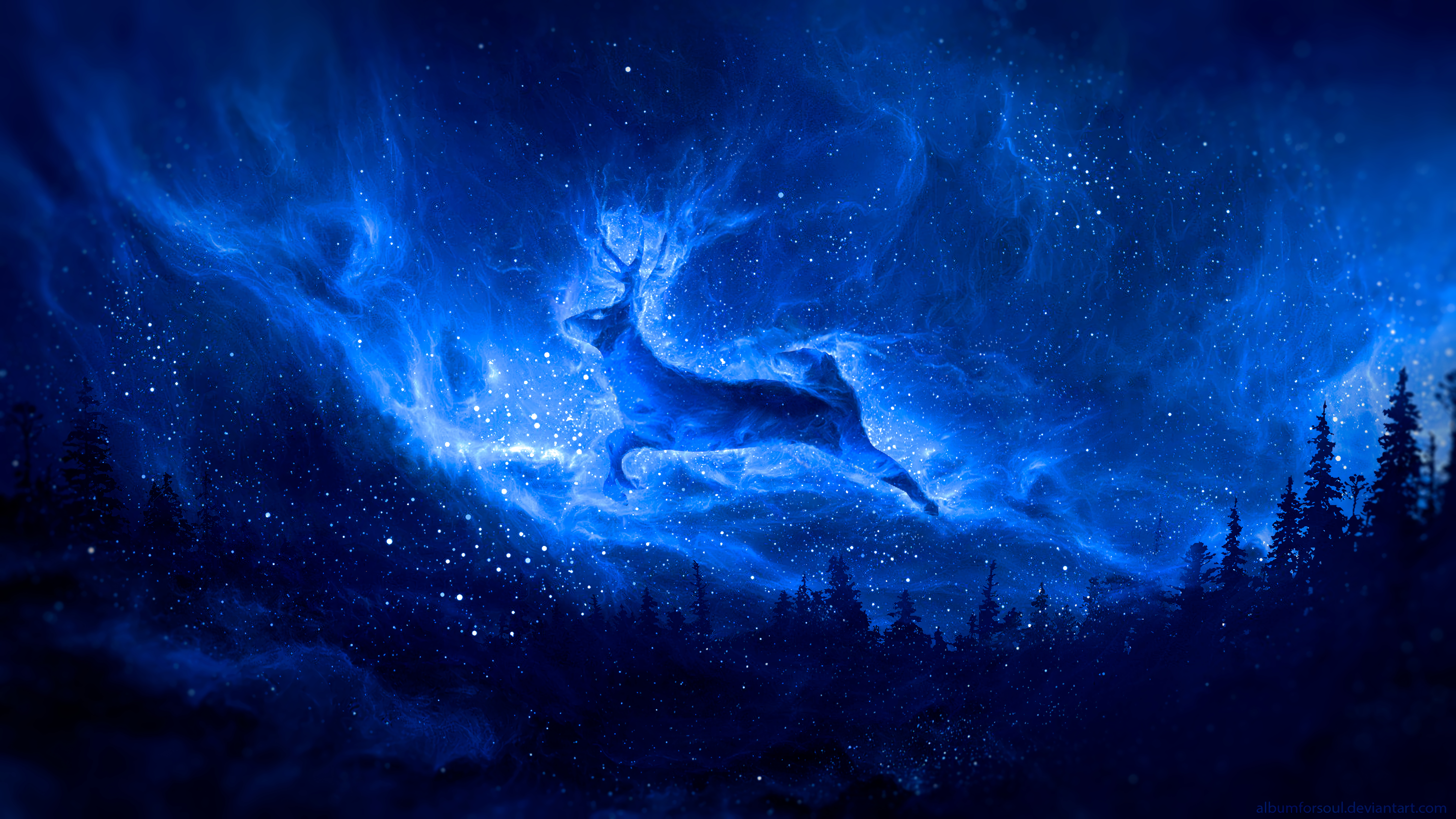 73924 download wallpaper Deer, Silhouette, Starry Sky, Art, Fantasy screensavers and pictures for free