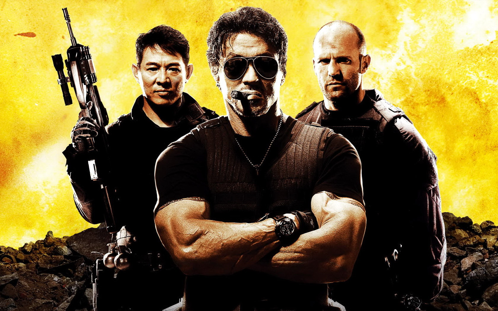 10091 download wallpaper Cinema, People, Actors, Men, Expendables, Sylvester Stallone, Jason Statham, Jet Li screensavers and pictures for free