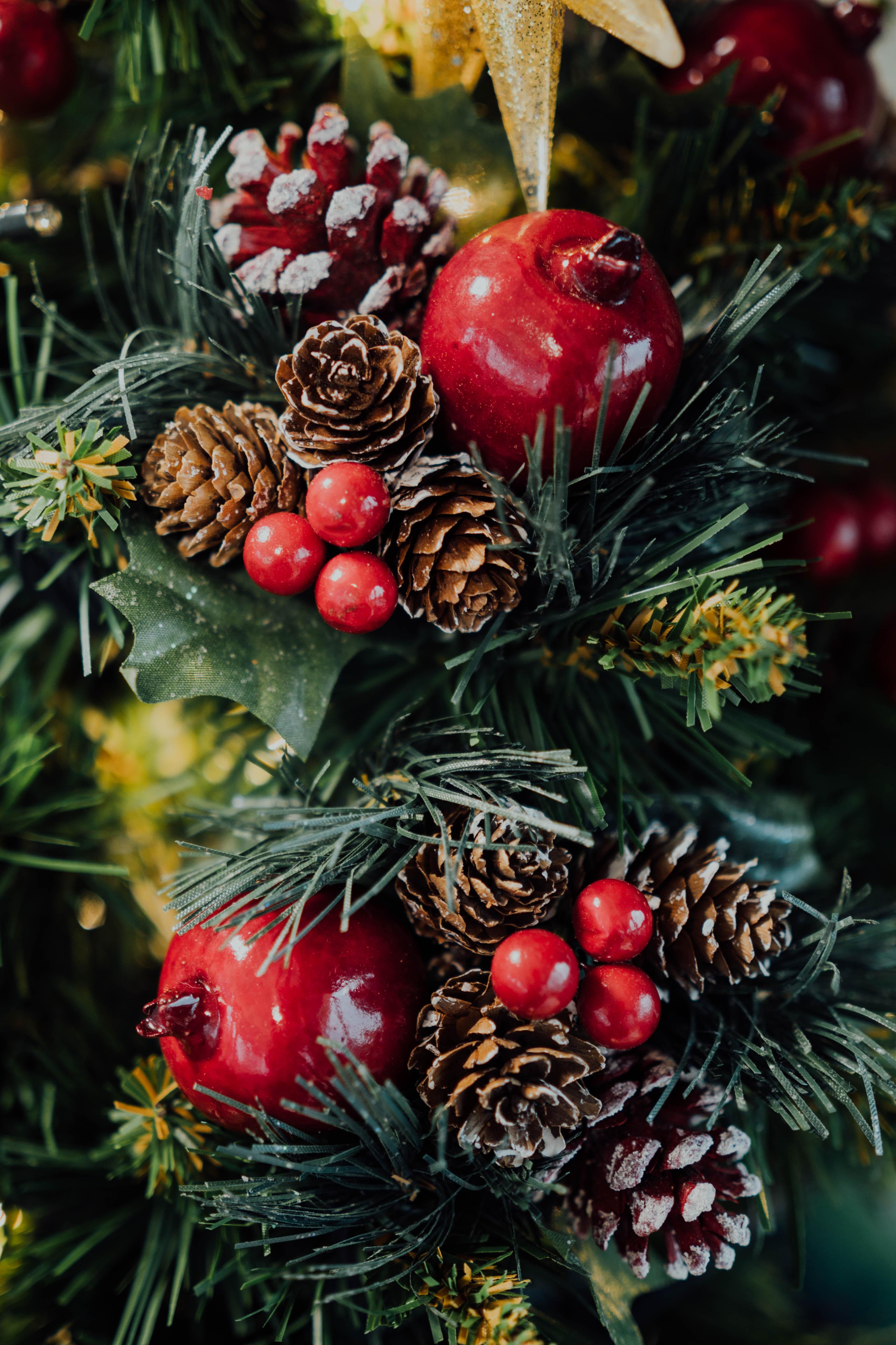 75368 скачать обои Праздники, Елка, Шишки, Новый Год, Рождество, Ягоды - заставки и картинки бесплатно