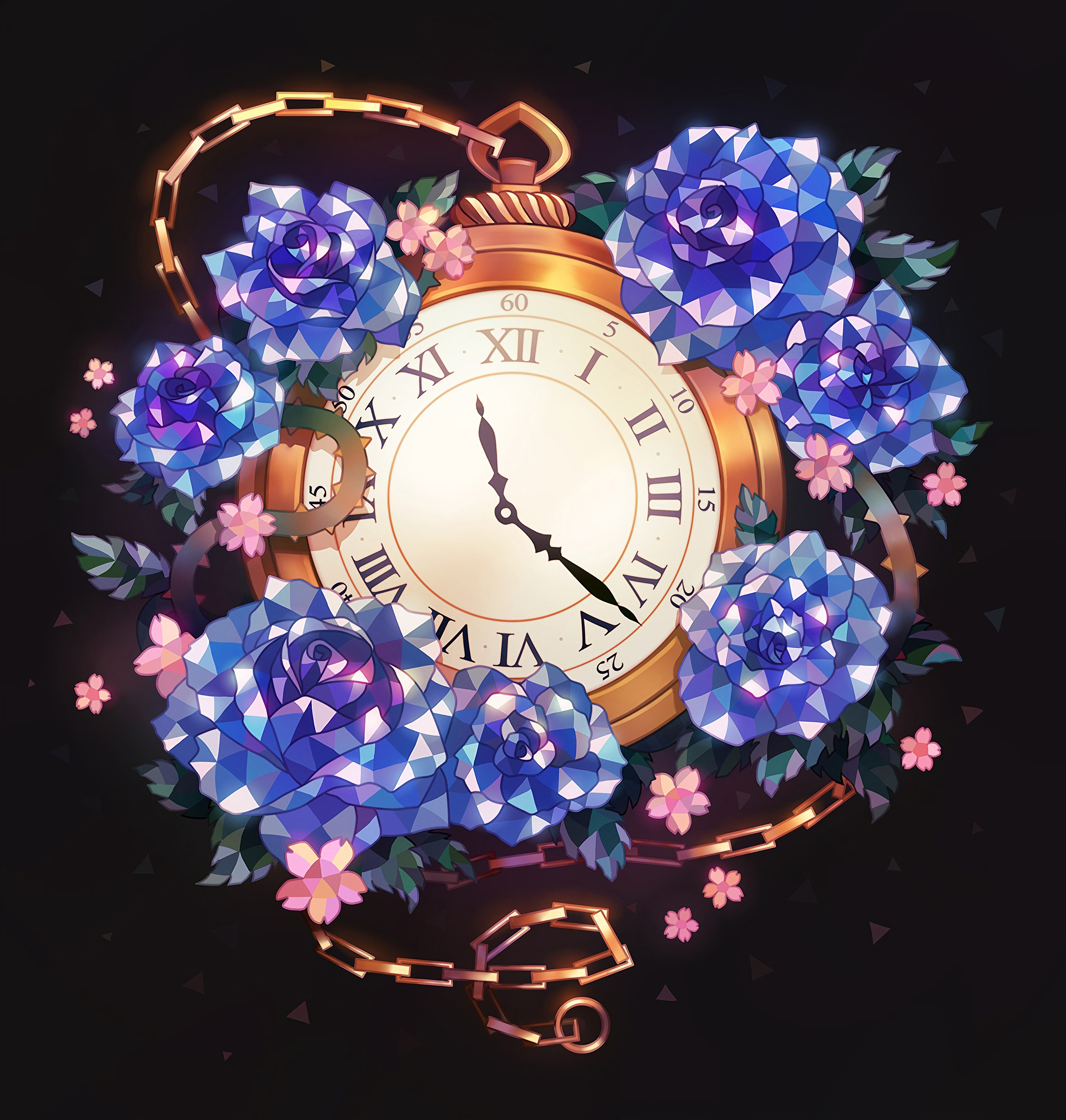96009 download wallpaper Art, Pocket Watch, Chain, Flowers, Clock screensavers and pictures for free