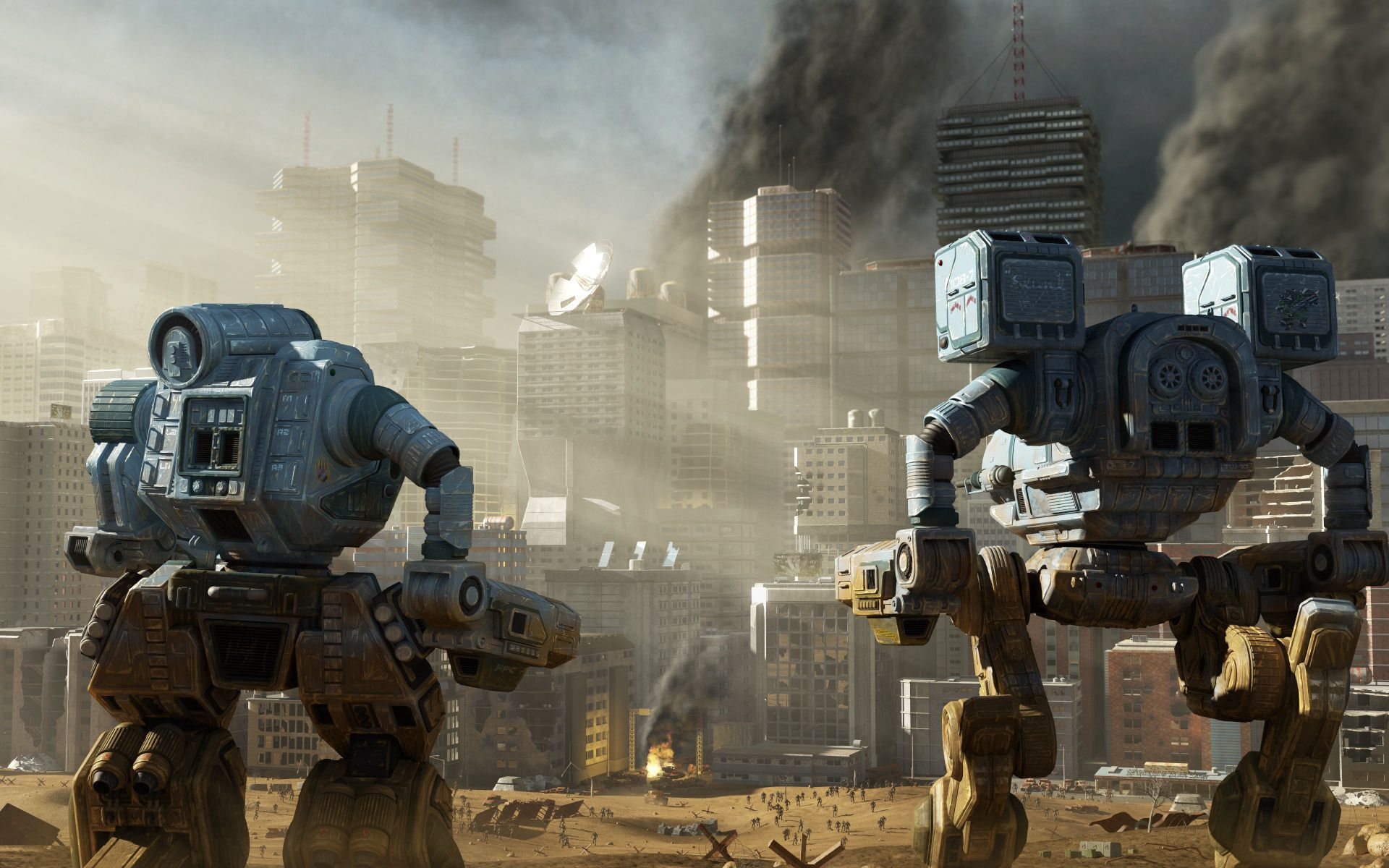 130890 Screensavers and Wallpapers Robots for phone. Download Fantasy, City, Skyscrapers, People, Vanity, Destruction, Robots pictures for free