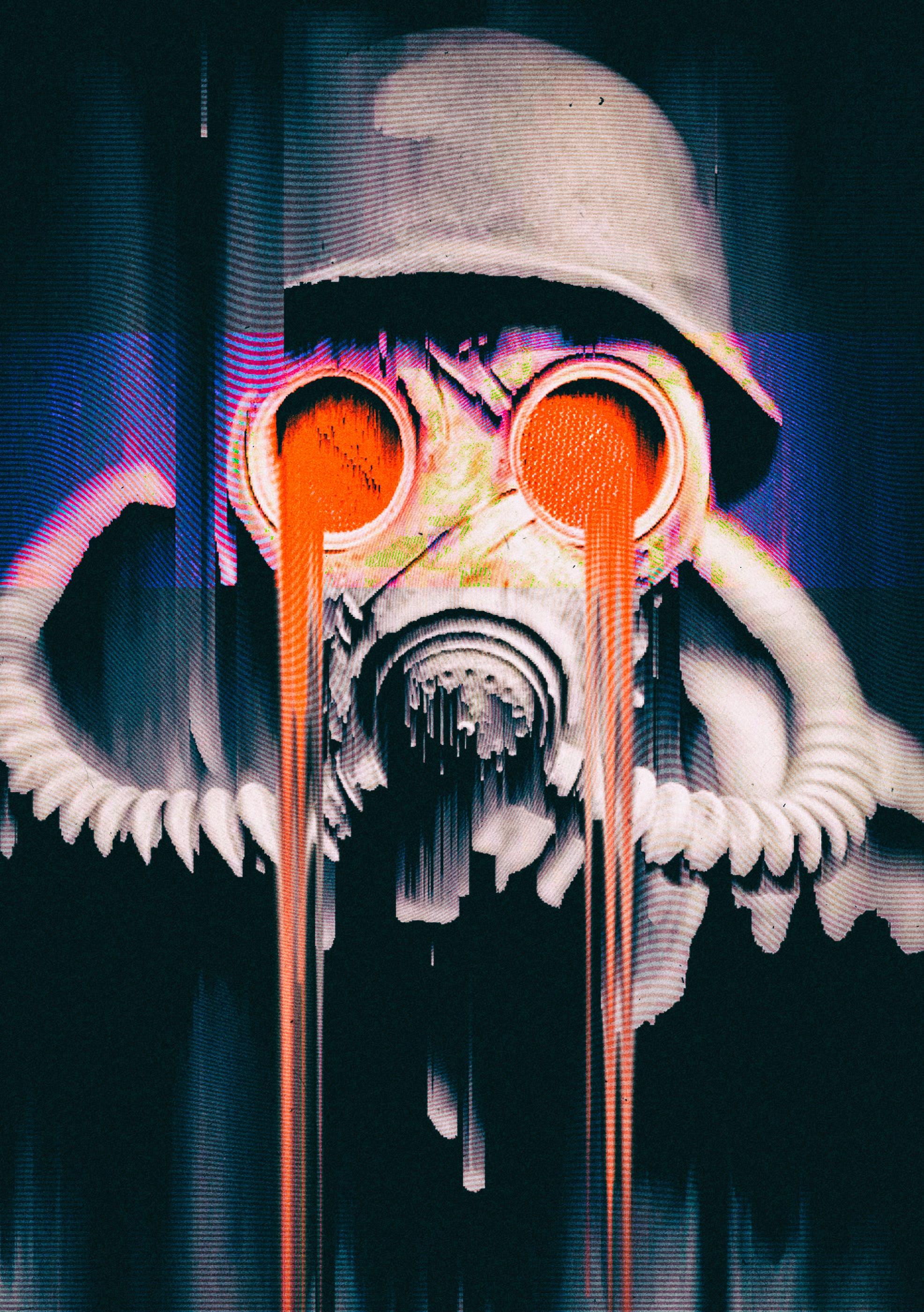 156353 Hintergrundbild herunterladen Verschiedenes, Sonstige, Maske, Gasmaske, Panne, Glitch, Respirator, Atemschutzgerät - Bildschirmschoner und Bilder kostenlos
