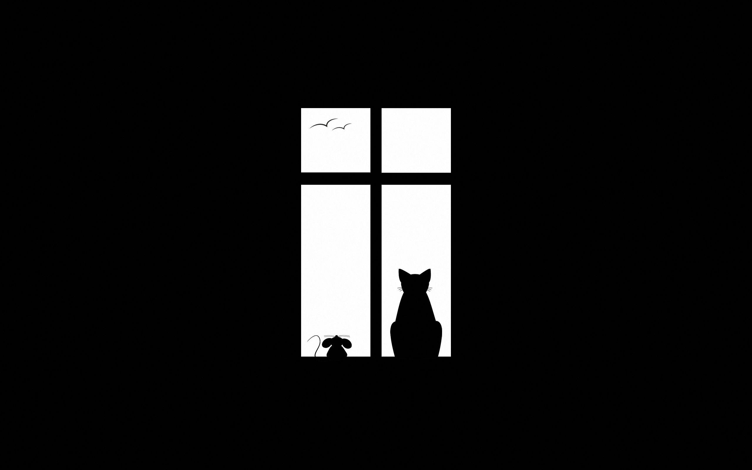 50514 Hintergrundbild herunterladen Silhouette, Der Kater, Katze, Minimalismus, Bild, Zeichnung, Fenster - Bildschirmschoner und Bilder kostenlos